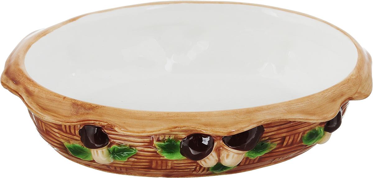 Блюдо-шубница Elan Gallery Грибы, 24 х 17 х 5,5 смVT-1520(SR)Блюдо-шубница Elan Gallery Грибы изготовлено из высококачественной керамики, покрытой сверкающей глазурью. Блюдо в виде корзинки декорировано оригинальным рельефом. Оно идеально подойдет для красивой сервировки слоеных салатов, например селедки под шубой, а также других блюд. Такое блюдо украсит ваш праздничный стол, а оригинальное исполнение понравится любой хозяйке. Не использовать в микроволновой печи.