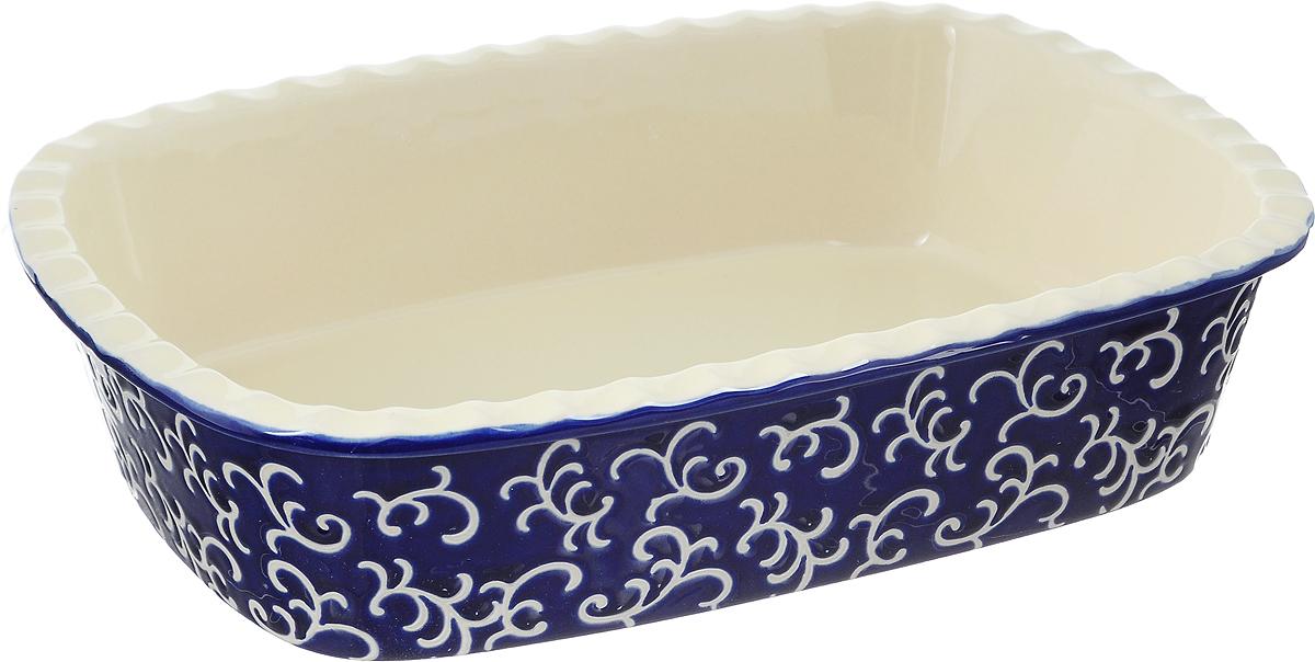 Форма для запекания Appetite, прямоугольная, цвет: синий, 30 х 22 х 7,5 смW12022426Форма для запекания Appetite изготовлена из экологически чистой жаропрочной керамики с глазурованным покрытием. Изделие обеспечивает равномерное приготовление блюд по всей поверхности и долго сохраняет тепло. Пища, приготовленная в керамической посуде, сохраняет свои вкусовые качества и не может нанести вред здоровью человека, благодаря экологической чистоте материала. Керамика - один из самых лучших материалов, который удерживает тепло, медленно и равномерно его распределяет. Такая форма подходит для запекания и тушения разнообразных блюд: мяса, птицы, овощей. Посуда не впитывает посторонние запахи, не изменяет вкус продуктов и легко чистится. Внешние стенки изделия дополнены красивым рельефным узором. Форма пригодна для использования в духовом шкафу и в микроволновой печи при температуре до 220°С. Можно использовать для хранения продуктов в холодильнике. Пригодна для мытья в посудомоечной машине.