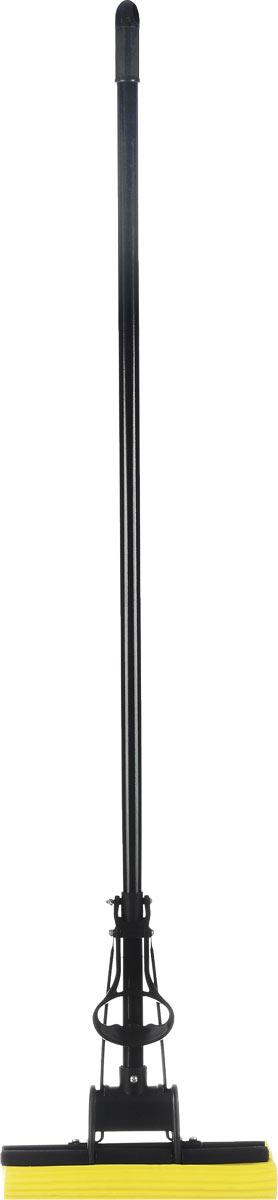 Швабра Unidom, с пластиковым коллектором, с одинарным отжимом, цвет: черный, желтый, длина 122 смМ-060Швабра Unidom, выполненная из пластика, металла и вспененного полимера, подходит для всех видов напольных покрытий. Швабра, имеющая отжимной механизм, хорошо впитывает большое количество влаги и легко устраняет загрязнения. Швабра Unidom проста в использовании, легко отжимает воду при помощи поднятия отжимного механизма, сохраняя ваши руки сухими и чистыми.Длина ручки швабры: 108 см.Общая длина швабры: 122 см.Размер рабочей части: 27 х 5,5 х 5 см.