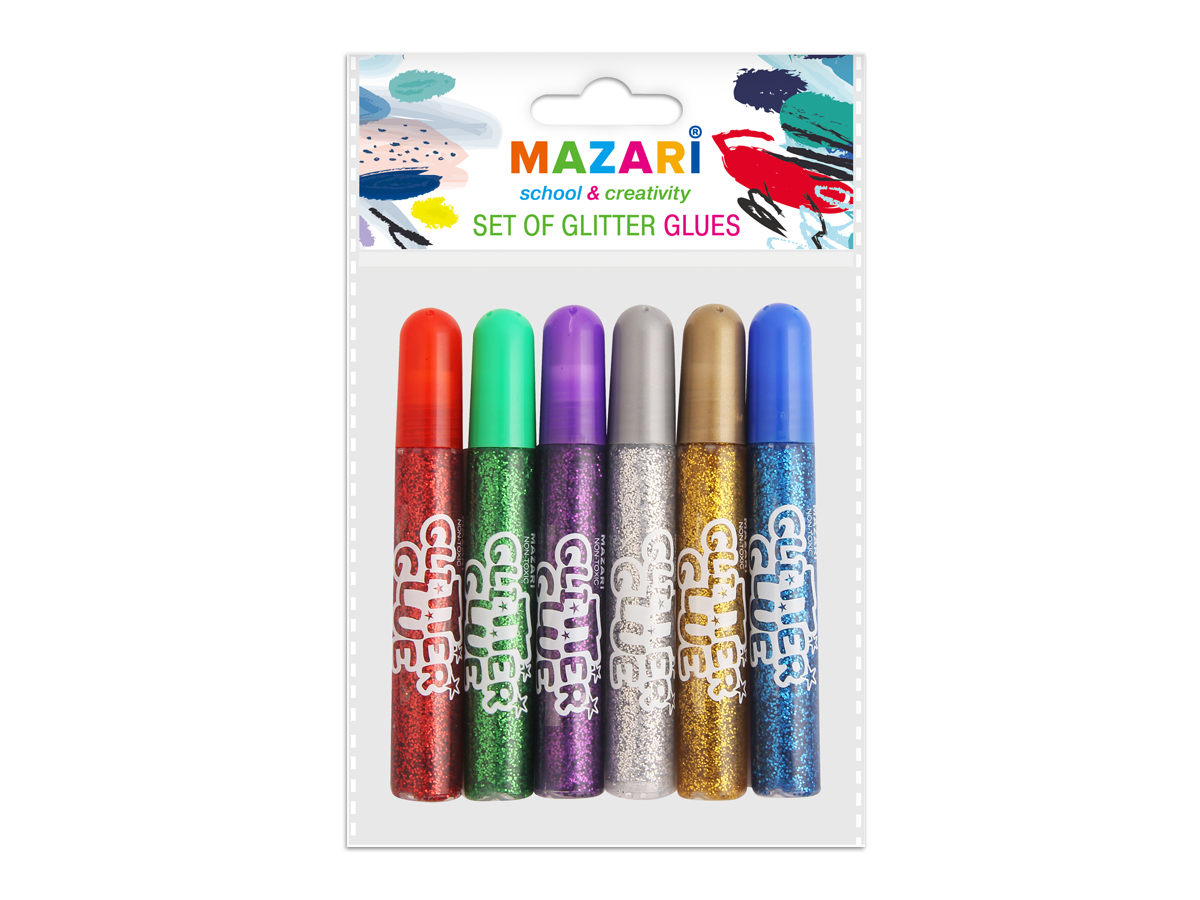 Mazari Гель-краски с блестками 6 цветов 10 млFS-00103Гель-краски Mazari с блестками для детского творчества - это оригинальный материал для декорирования рисунков, стенгазет или каких-то подделок. Также предназначены для художественных работ по любым видам поверхностей. Не содержат вредных для здоровья компонентов.