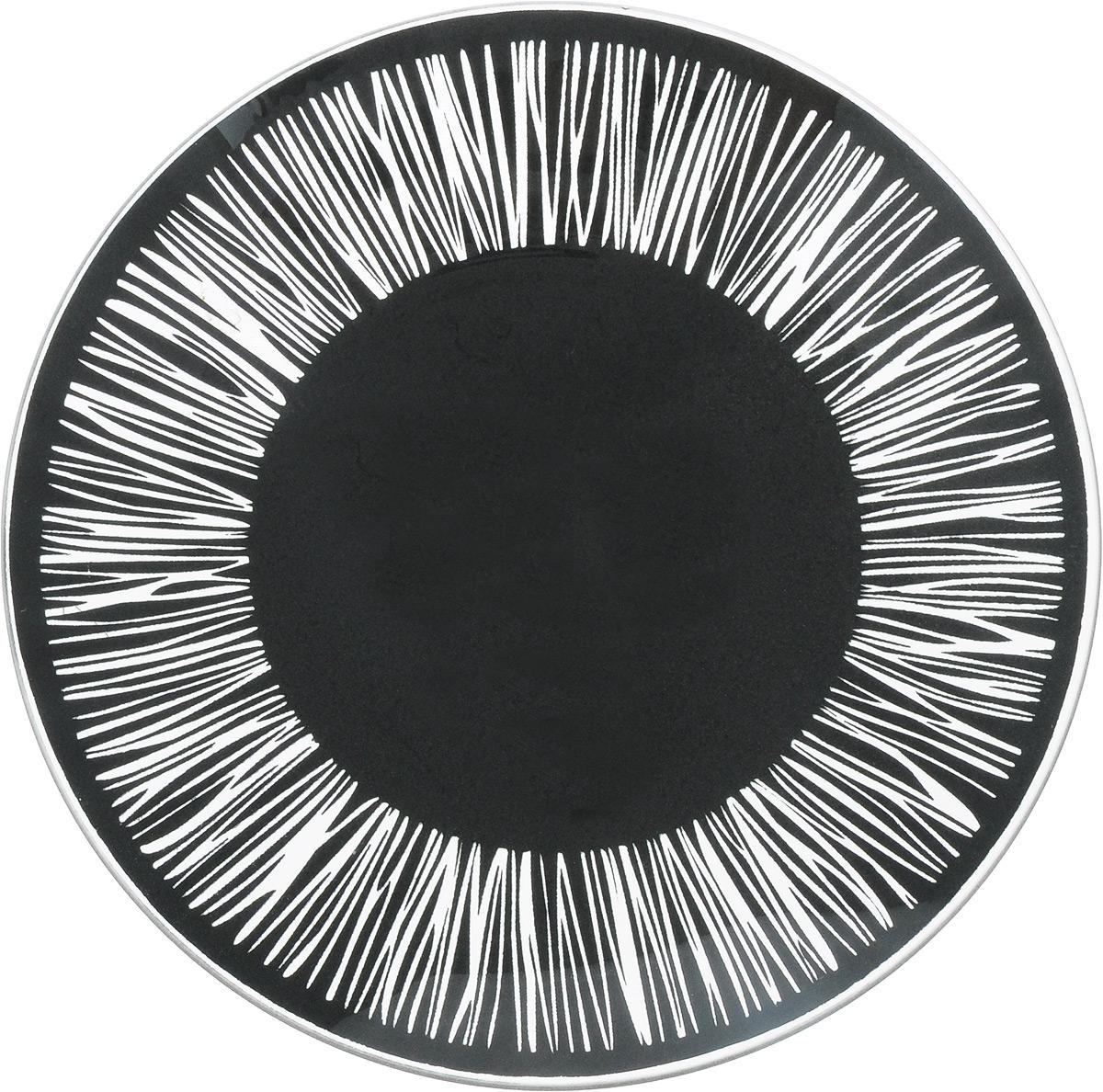 Тарелка NiNaGlass Витас, цвет: черный, диаметр 20 см54 009312Тарелка NiNaGlass Витас изготовлена из высококачественного стекла. Изделие декорировано оригинальным дизайном. Такая тарелка отлично подойдет в качестве блюда, она идеальна для сервировки закусок, нарезок, горячих блюд. Тарелка прекрасно дополнит сервировку стола и порадует вас оригинальным дизайном. Диаметр тарелки: 20 см. Высота тарелки: 2,5 см.