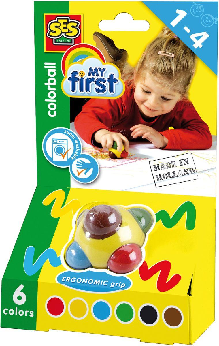 SES-Creative Пастель Цветной шар 6 цветовFS-36054Пастель SES-Creative прекрасно подойдет для занятий творчеством.Краска отлично ложится на бумагу и картон.Волшебный шар бъединяет 6 цветных восковых мелков - красный, желтый, синий, зеленый, коричневый и черный. Шарик очень удобен для маленькой детской ладони Для детей от 1 года.Волшебный шар, объединяет 6 цветных восковых мелков - красный, желтый, синий, зеленый, коричневый и черный. Шарик очень удобен для маленькой детской ладони. Для детей от 3 лет.
