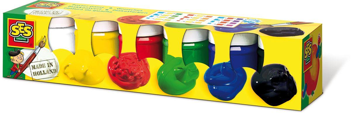 SES-Creative Гуашь плакатная 6 цветовFS-00261Гуашь SES-Creative прекрасно подойдет для занятий творчеством.Краска отлично ложится на бумагу, картон, а также на грунтованный холст.При высыхании приобретает бархатистую, матовую поверхность.В набор входят 6 баночек с гуашью по 50 мл (красная, синяя, желтая, зеленая, черная и белая). Краска прекрасно смывается с рук и отстирывается с большинства видов такни.Для детей от 3 лет.