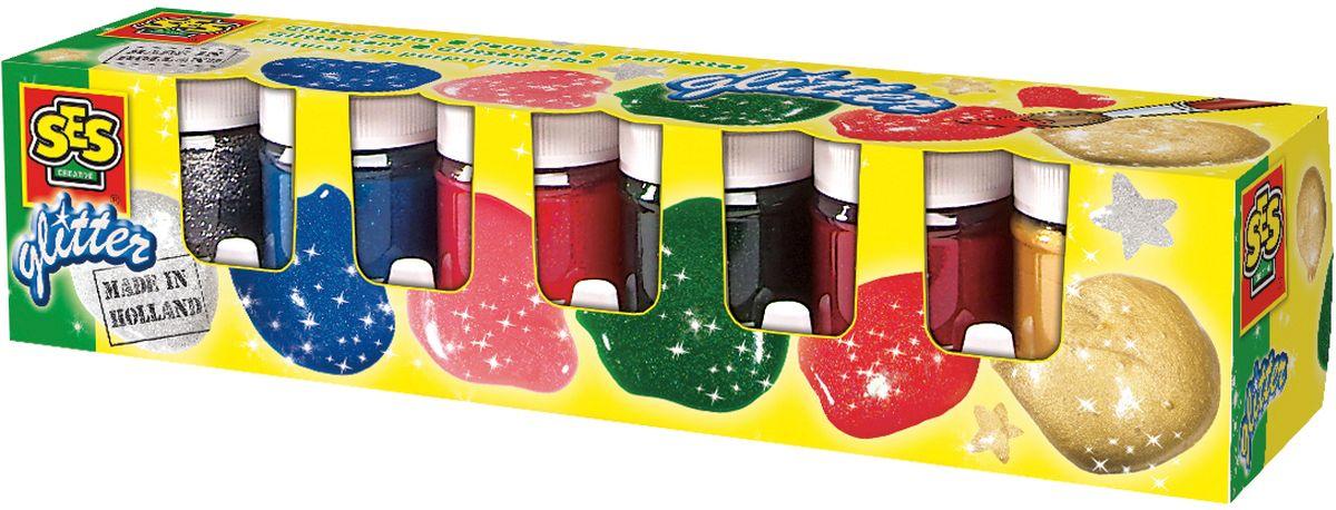 SES-Creative Гуашь с блестками 6 цветовFS-00261Гуашь SES-Creative прекрасно подойдет для занятий творчеством.Краска отлично ложится на бумагу, картон, а также на грунтованный холст.При высыхании приобретает бархатистую, матовую поверхность.В набор входят 6 баночек гуаши с блестками по 50 мл (розовый, синий, красный, зеленый, белый, золотой). Краска прекрасно смывается с рук и отстирывается с большинства видов такни.Для детей от 3 лет.
