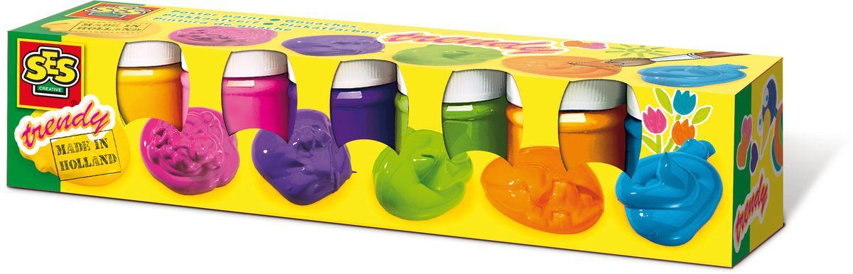 SES-Creative Гуашь плакатная Яркая 6 цветовFS-00261Гуашь SES-Creative прекрасно подойдет для занятий творчеством.Краска отлично ложится на бумагу, картон, а также на грунтованный холст.При высыхании приобретает бархатистую, матовую поверхность.В набор входят 6 баночек гуаши ярких цветов по 50 мл (желтый, розовый, фиолетовый, зеленый, оранжевый, голубой). Краска прекрасно смывается с рук и отстирывается с большинства видов такни.Для детей от 3 лет.