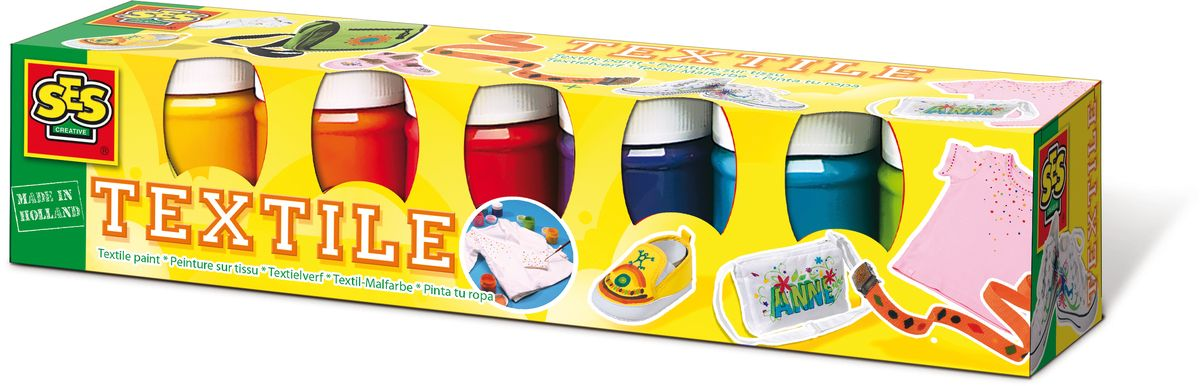 SES-Creative Краски по ткани 6 цветовFS-00103Краски SES-Creative предназначены для создания рисунков на ткани.Нанести красками рисунок на ткань; дайте высохнуть в течение двух часов; прогладьте утюгом на максимальной температуре через ткань.В наборе входят краски шести цветов (желтый, оранжевый, красный, фиолетовый, синий и зеленый).