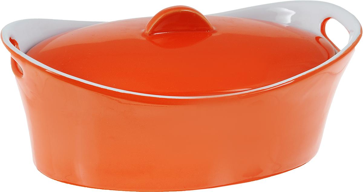 Кастрюля керамическая Appetite с крышкой, цвет: оранжевый, 1,2 л391602Кастрюля Appetite изготовлена из экологически чистой жаропрочной керамики с глазурованным покрытием. Изделие обеспечивает равномерное приготовление блюд по всей поверхности и долго сохраняет тепло. Пища, приготовленная в керамической посуде, сохраняет свои вкусовые качества и не может нанести вред здоровью человека, благодаря экологической чистоте материала. Керамика - один из самых лучших материалов, который удерживает тепло, медленно и равномерно его распределяет. Такая кастрюля подходит для запекания, тушения и варки разнообразных блюд. Посуда не впитывает посторонние запахи, не имеет труднодоступных выступов или изгибов, которые накапливают грязь, и легко чистится. Пригодна для использования в духовом шкафу, в микроволновой печи при температуре до 220°С. Можно использовать для хранения продуктов в холодильнике. Пригодна для мытья в посудомоечной машине.