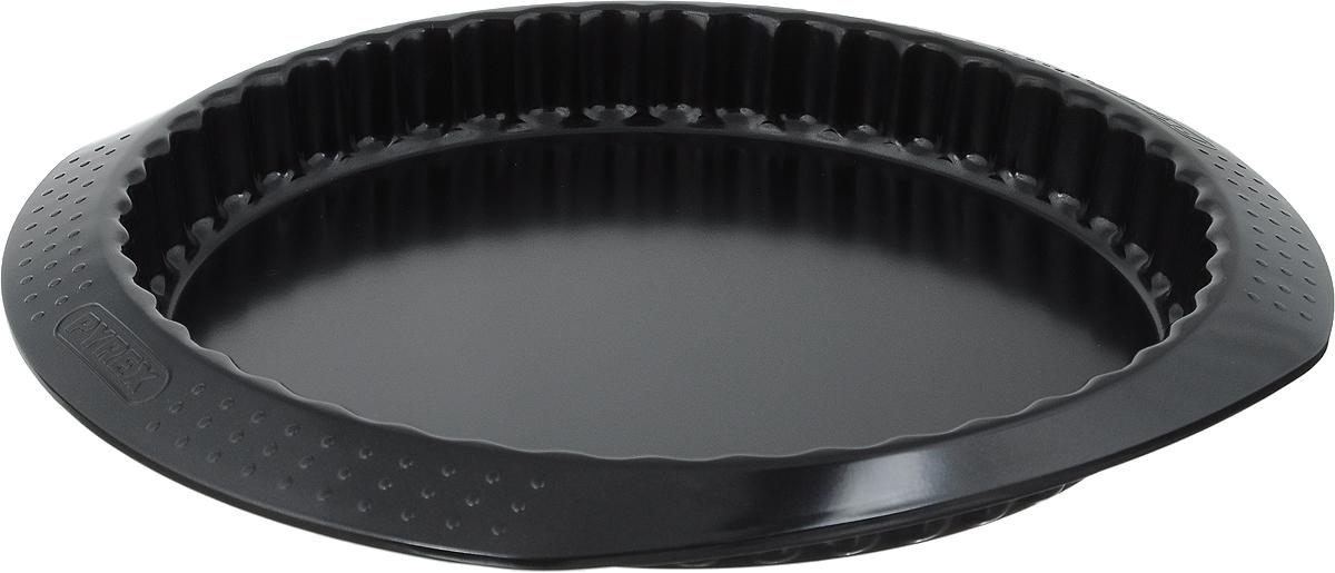 Форма для пирога Pyrex Classic, с антипригарным покрытием, диаметр 27 см54 009312Форма для пирога Pyrex Classic изготовлена из углеродистой стали с антипригарным покрытием на всей поверхности. Благодаря антипригарному покрытию нет необходимости использовать подсолнечное масло. Пища не пригорает и не прилипает к стенкам, легко достается из формы, сохраняя при этом аккуратный внешний вид. Покрытие обладает высокой прочностью и длительным сроком эксплуатации, а также является абсолютно безопасным, так как не содержит PFOA, свинца и кадмия. Форма быстро и равномерно нагревается. Стенки изделия рельефные, имеются удобные ручки. Такая форма прослужит долго и обеспечит легкое и удобное приготовление вашей любимой выпечки. Можно использовать в духовке при температуре до 230°С и мыть в посудомоечной машине. Внутренний диаметр формы: 27 см. Размер формы (с учетом ручек): 33 х 29 см.Высота стенки: 3,5 см.