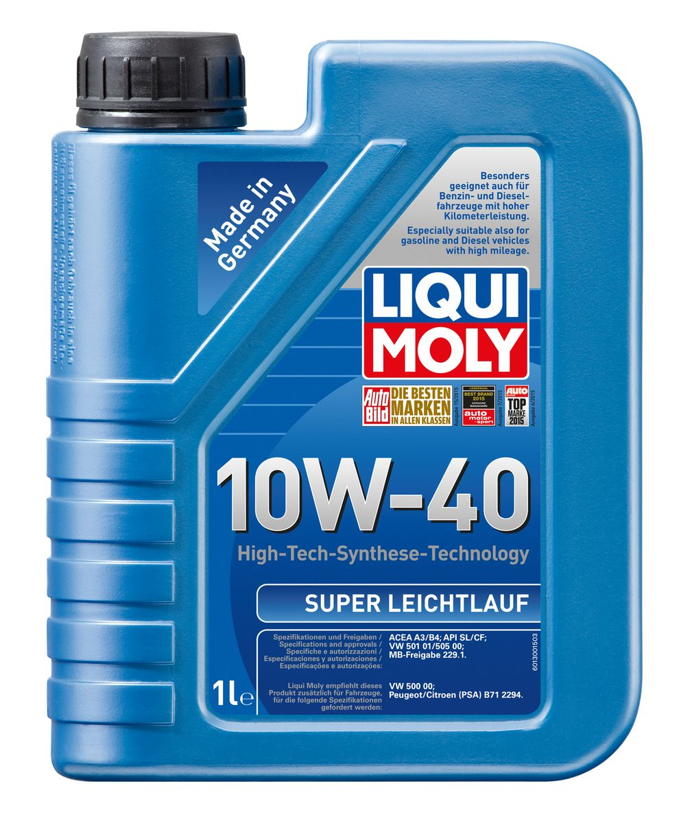 Масло моторное Liqui Moly Super Leichtlauf, НС-синтетическое, 10W-40, 1 лS03301004Масло моторное Liqui Moly Super Leichtlauf - универсальное моторное масло на базе гидрокрекинговой технологии синтеза (HC-синтеза). Удовлетворяет современным требованиям международных стандартов API и ACEA, а также имеет оригинальные допуски таких производителей, как Mercedes-Benz, Volkswagen Group. Масло имеет высокую стабильность к окислению и угару, поэтому может использоваться в нагруженных бензиновых и дизельных двигателях с турбонаддувом и интеркулером. В моторном масле Leichtlauf Super 10W-40 используются базовые компоненты, произведенные по новейшим технологиям синтеза и отличающиеся высочайшими защитными свойствами. Масло содержит современный пакет присадок, который обеспечивает высокий уровень защиты от износа и гарантирует стабильное поступление масла ко всем деталям двигателя. Особенности: - Высокая стабильность масляной пленки при высоких и низких температурах- Высокие противоизносные свойства- Обеспечивает оптимальную чистоту двигателя- Протестировано на совместимость с турбированными двигателями и катализаторомДопуск: -API: SL/CF-ACEA: A3/B4-MB: 229.1-VW: 501 01/505 00