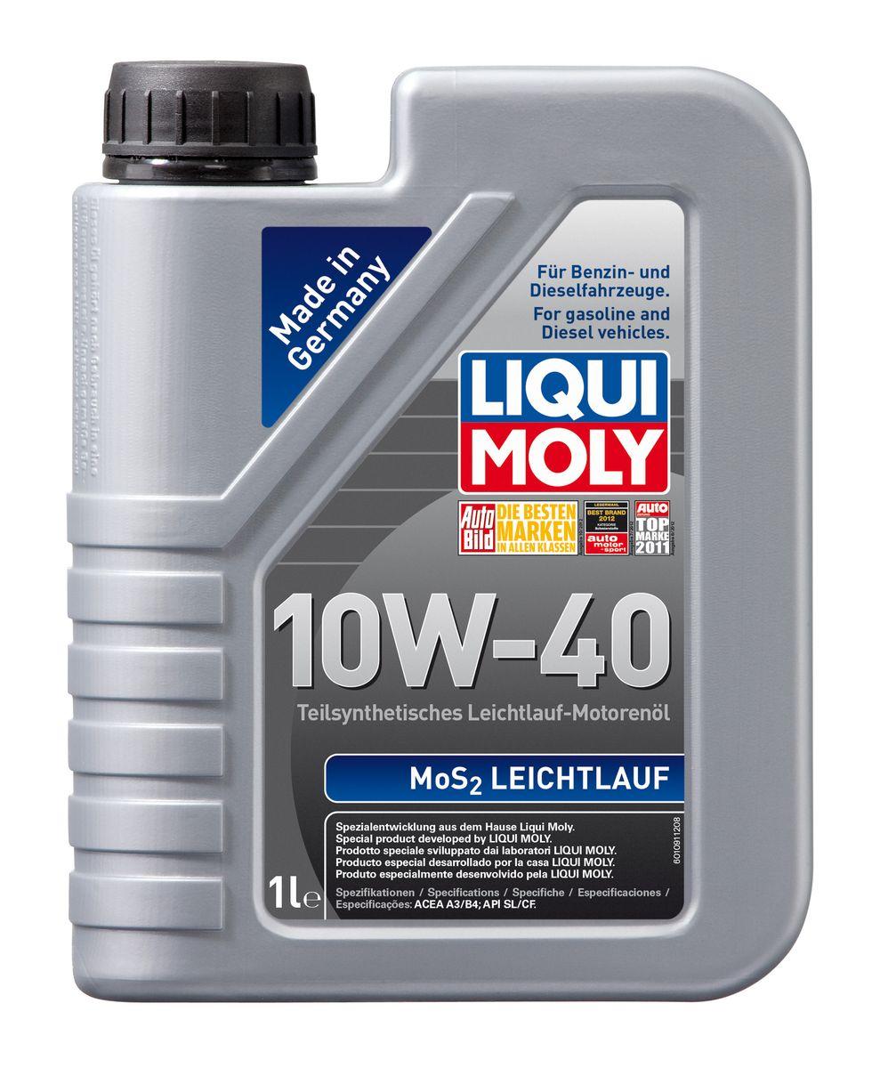 Масло моторное Liqui Moly MoS2 Leichtlauf, полусинтетическое, 10W-40, 1 л80621Масло моторное Liqui Moly MoS2 Leichtlauf - полусинтетическое моторное масло с добавлением дисульфида молибдена - визитной карточки компании Liqui Moly, эффективность рецептуры которой проверена десятилетиями. Масло предназначено для бензиновых и дизельных двигателей (в том числе для турбомоторов) новых автомобилей (без специальных требований к маслу от автопроизводителей), а также для подержанных автомобилей с большим пробегом, которые эксплуатируются в жестких условиях. В моторном масле используются синтетические и минеральные базовые компоненты, отличающиеся высокими защитными свойствами. Оптимальное содержание присадок, а также смазывающего материала обеспечивает отличные смазывающие свойства масла при самых критических нагрузках и длительных интервалах смены масла. Особенности: - Очень высокий уровень защиты от износа- Надежное поступление масла к деталям двигателя во всем диапазоне рабочих температур- Очень низкий расход масла- Отличная чистота двигателя- Проверено на системах с турбинами, компрессорами и катализаторами Соответствие:- API: CF/SL- ACEA: A3/B4
