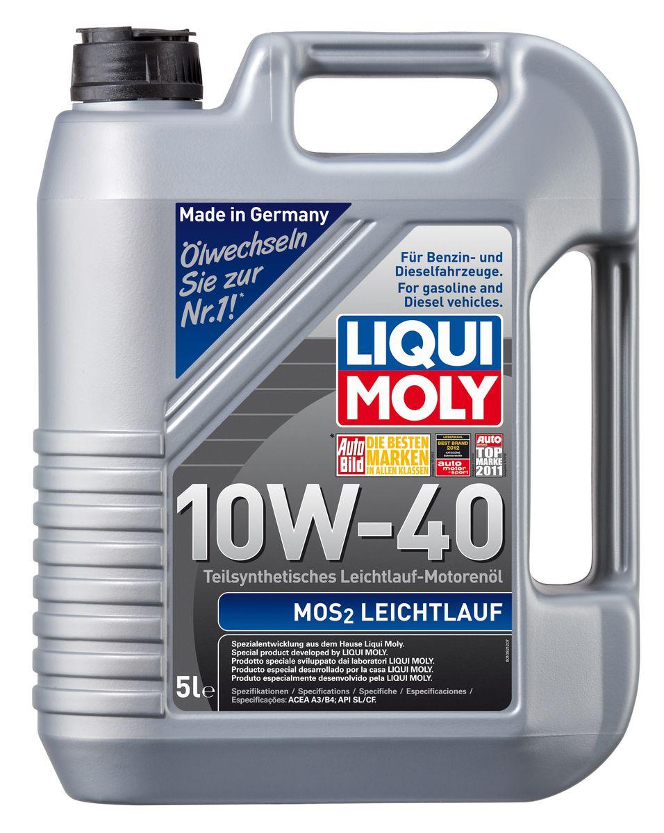 Масло моторное Liqui Moly MoS2 Leichtlauf, полусинтетическое, 10W-40, 5 л2706 (ПО)Масло моторное Liqui Moly MoS2 Leichtlauf - полусинтетическое моторное масло с добавлением дисульфида молибдена - визитной карточки компании Liqui Moly, эффективность рецептуры которой проверена десятилетиями. Масло предназначено для бензиновых и дизельных двигателей (в том числе для турбомоторов) новых автомобилей (без специальных требований к маслу от автопроизводителей), а также для подержанных автомобилей с большим пробегом, которые эксплуатируются в жестких условиях. В моторном масле используются синтетические и минеральные базовые компоненты, отличающиеся высокими защитными свойствами. Оптимальное содержание присадок, а также смазывающего материала обеспечивает отличные смазывающие свойства масла при самых критических нагрузках и длительных интервалах смены масла. Особенности: - Очень высокий уровень защиты от износа- Надежное поступление масла к деталям двигателя во всем диапазоне рабочих температур- Очень низкий расход масла- Отличная чистота двигателя- Проверено на системах с турбинами, компрессорами и катализаторамиСоответствие:- API: CF/SL- ACEA: A3/B4