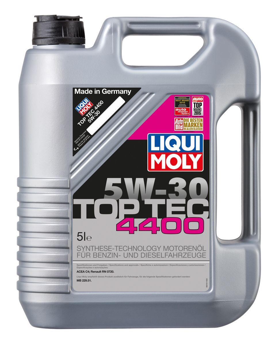 Масло моторное Liqui Moly Top Tec 4400, НС-синтетическое, 5W-30, 5 лS03301004Масло моторное Liqui Moly Top Tec 4400 имеет оригинальный допуск Renault/Nissan. Особо рекомендуется для дизельных двигателей с сажевым фильтром Renault с 2007 модельного года, Nissan - с 2010. HC-синтетическое малозольное (Low SAPS) моторное масло для круглогодичного использования в бензиновых и дизельных двигателях легковых автомобилей. Рекомендуется для современных дизельных двигателей с многоступенчатым катализатором и сажевым фильтром (DPF). Отлично подходит для использования в автомобилях, переоборудованных под использование природного и сжиженного газа (CNG/LPG). В моторных маслах Top Tec используются базовые компоненты, произведенные по новейшим технологиям синтеза и отличающиеся высочайшими защитными свойствами. Масла содержат специальный пакет присадок с пониженным содержанием соединений серы, фосфора и хлора, что обеспечивает совместимость со специфическими системами нейтрализации и обеспечивает минимальные выбросы вредных веществ. Особенности: - Сокращает вредные выбросы- Совместимо с новейшими системами нейтрализации выхлопных газов- Быстрое поступление масла к трущимся деталям при низких температурах- Высокая защита двигателя от износа- Обеспечивает чистоту двигателяДопуск: -ACEA: C4-Renault: RN 0720