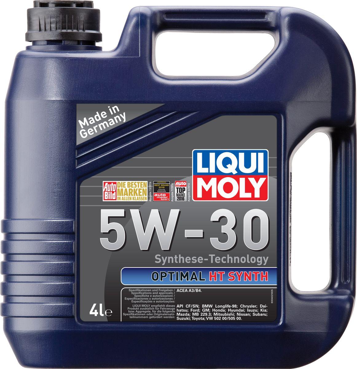 Масло моторное Liqui Moly Optimal HT Synth, НС-синтетическое, 5W-30, 4 л10503Масло моторное Liqui Moly Optimal HT Synth - универсальное моторное масло на базе гидрокрекинговой технологии синтеза (HC-синтеза). Удовлетворяет современным требованиям международных стандартов API и ACEA. Оптимально для современных моделей ВАЗ и иномарок с аналогичными требованиями. Отлично подходит двигателей с турбонаддувом и катализаторами. Масло обладает популярнейшим классом вязкости для современных автомобилей. Это современное моторное мало с хорошими антифрикционными свойствами высшего класса для всесезонного применения. Комбинация необычных базовых масел на основе гидрокрекинга и самой современной технологии присадок гарантирует получение моторного масла, которое снижает расход масла и топлива и заботится о быстрейшей смазке двигателя. Особенности: - легкий ход мотора,- высокая устойчивость смазки,- высокая стабильность,- превосходная устойчивость к старению,- быстрое снабжение маслом при низких температурах, - оптимальное давление масла при всех условиях применения,- отличная защита от износа,- отличная чистота мотора,- экономит топливо и снижает выброс вредных веществ,- долгий срок жизни мотора,- пригодно к смешиванию с аналогичными моторными маслами,- проверено на катализаторах и турбонагнетателях.Допуск:-ACEA: A3/B4Соответствие:-API: CF/SN-BMW: Longlife-98-Chrysler: Chrysler-Ford: Ford-GM: GM-MB: 229.3-VW: 502 00/505 00-Daihatsu: Daihatsu-Honda: Honda-Hyundai: Hyundai-Kia: Kia-Isuzu: Isuzu-Mazda: Mazda-Mitsubishi: Mitsubishi-Nissan: Nissan-Suzuki: Suzuki-Toyota: Toyota-Subaru: Subaru