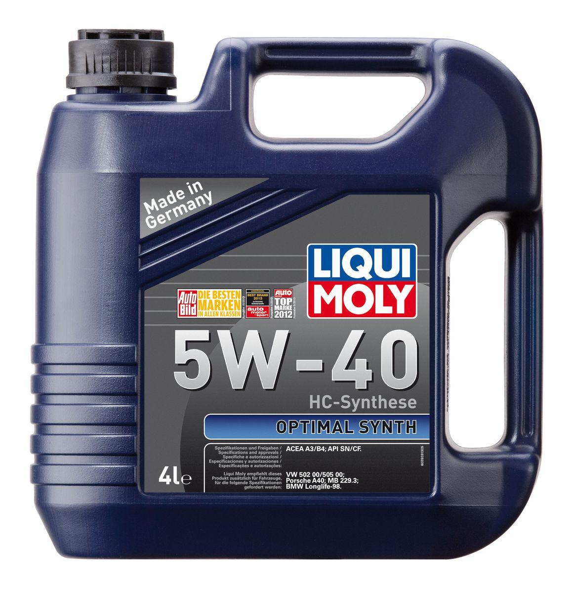 Масло моторное Liqui Moly Optimal Synth, НС-синтетическое, 5W-40, 4 лS03301004Масло моторное Liqui Moly Optimal Synth - это HC-синтетическое моторное масло с адаптированным для российских условий пакетом присадок. Благодаря новейшим технологиям синтеза и вязкости 5W-40 масло обеспечивает высокий уровень защиты и оптимальное смазывание деталей двигателя. Масло удовлетворяет современным международным стандартам API/ACEA. Масло создано на основе базовых компонентов, произведенных по технологии HC-синтеза, с учетом самых высоких требований, предъявляемых современными и мощными бензиновыми и дизельными двигателями. Оно обеспечивает отличную смазку при любых условиях эксплуатации. Одновременно снижается до минимума трение, в результате чего уменьшается расход топлива. Особенности: - Быстрое поступление масла к деталям двигателя при низких температурах- Надежная защита от износа- Низкий расход масла- Оптимальная чистота двигателя- Экономия топлива и снижение вредных выбросов- Проверено на турбированных двигателях и катализаторе
