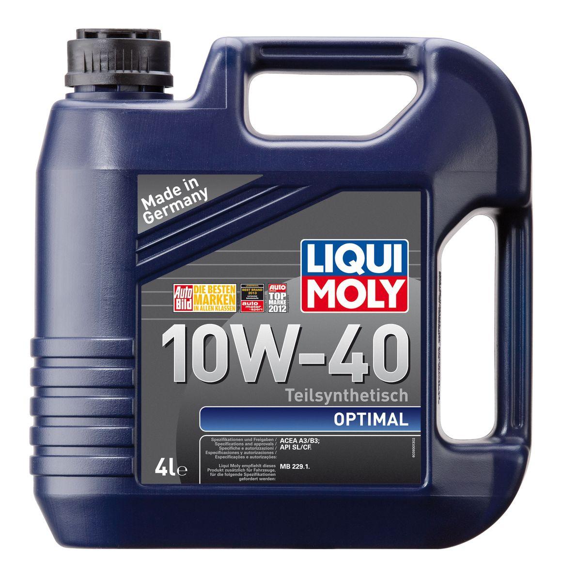 Масло моторное Liqui Moly Optimal, полусинтетическое, 10W-40, 4 л105779Масло моторное Liqui Moly Optimal - это полусинтетическое моторное масло с адаптированным для российских условий пакетом присадок, которые в сочетании с вязкостью 10W-40 обеспечивают высокий уровень защиты. Масло оптимально подходит для таких российских марок, как ВАЗ и ГАЗ. Optimal 10W-40 удовлетворяет современным международным стандартам API/ACEA. В моторном масле используются синтетические и минеральные базовые компоненты, отличающиеся высокими защитными свойствами. Масло содержит современный пакет присадок, который обеспечивает высокий уровень защиты от износа и гарантирует стабильное поступление масла ко всем деталям двигателя.
