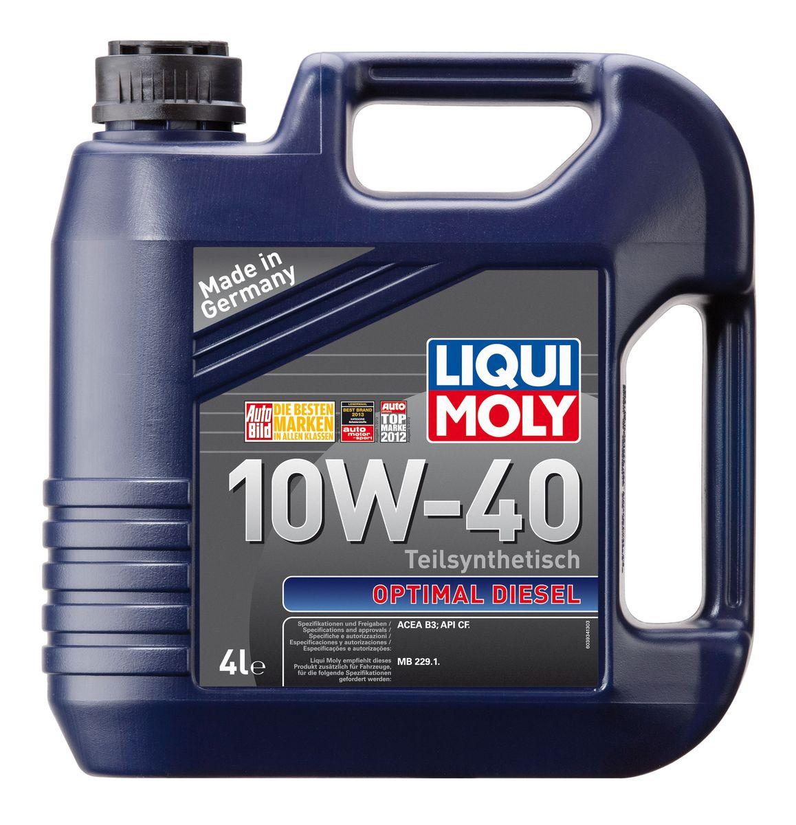 Масло моторное Liqui Moly Optimal Diesel, полусинтетическое, 10W-40, 4 лS03301004Масло моторное Liqui Moly Optimal Diesel - это полусинтетическое моторное масло специально для дизельных двигателей с адаптированным для российских условий пакетом присадок. Удовлетворяет современным международным стандартам API/ACEA. Подходит для широкого круга дизельных иномарок предыдущих поколений. В моторном масле используются синтетические и минеральные базовые компоненты, отличающиеся высокими защитными свойствами. Масло обеспечивает высокий уровень защиты от износа и гарантирует стабильное поступление масла ко всем деталям двигателя.Особенности: - Специальная формула для дизельных двигателей без сажевого фильтра- Надежная защита от износа- Низкий расход масла- Оптимальная чистота двигателя