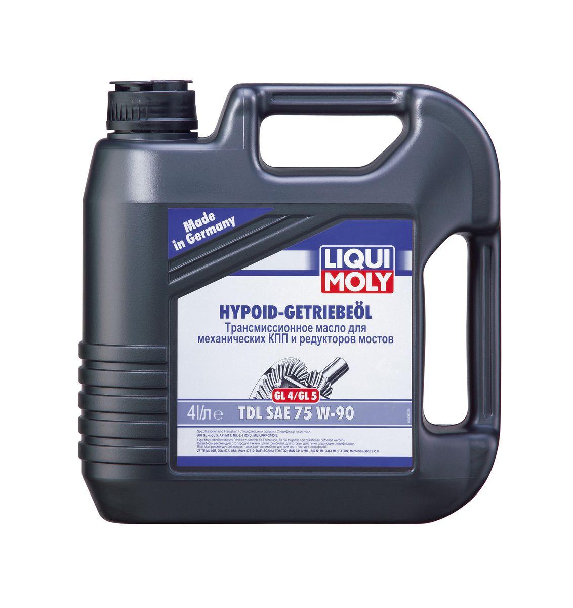 Масло трансмиссионное Liqui Moly Hypoid-Getriebeoil TDL, полусинтетическое, 75W-90, GL-4/GL-5, 4 л10503Масло трансмиссионное Liqui Moly Hypoid-Getriebeoil TDL относится к классификации TDL - Total Drive Line - один сорт масла для всех узлов трансмиссии. Отвечает требованиям международных классификаций трансмиссионных масел для механических коробок передач и гипоидных редукторов ведущих мостов. Полусинтетическое трансмиссионное масло класса GL-4/GL-5 предназначено для использования в механических коробках передач легковых и грузовых автомобилей, раздаточных коробках, гипоидных редукторах ведущих мостов. Масло обеспечивает четкое переключение передач и надежную защиту от износа. В масле Hypoid-Getriebeoil TDL 75W-90 используются высококачественные синтетические и минеральные базовые компоненты, отличающиеся отличной стойкостью к старению. Масло содержит специальный пакет присадок, обеспечивающий одновременно высочайшие защитные свойства и совместимость с материалами синхронизаторов. Особенности: - Имеет широкий температурный диапазон применения- Исключает возможность ошибки при выборе правильного типа смазочного материала- Имеет отличную вязкостную и температурную стабильность- Обеспечивают высокую устойчивость к нагрузкам и снижение износаДопуск: -API: GL-4/GL-5/MT-1-MIL-L: 2105 D-MIL-PRF: 2105 EСоответствие: -Eaton: Eaton-ZF: TE-ML 12E/TE-ML 16B/TE-ML 17B/TE-ML 19B-DAF: DAF-MAN: 341 Typ Z1/342 Typ M2/M 3343 Typ M-Scania: STO 1:0-Volvo: 97310 90000 km