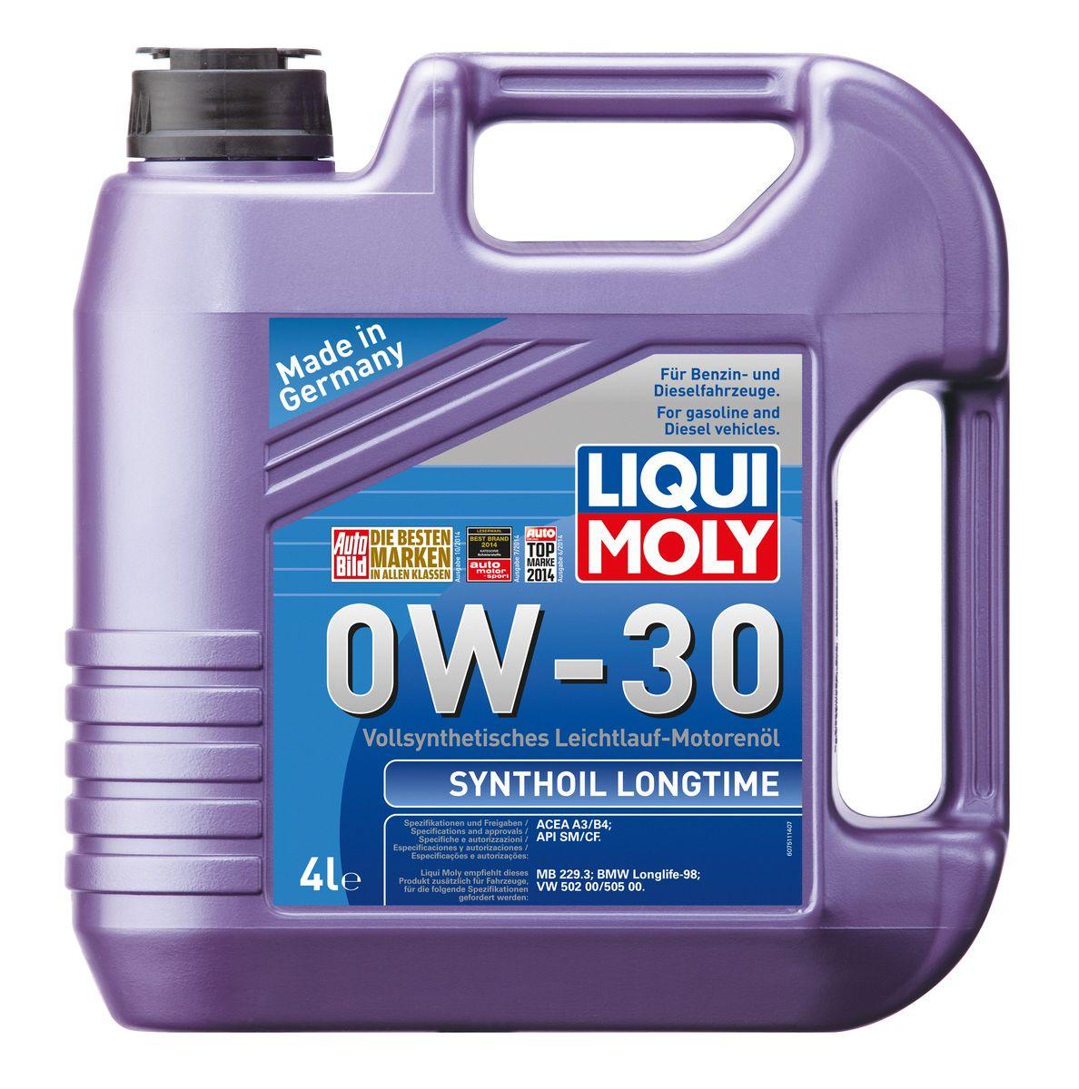 Масло моторное Liqui Moly Synthoil Longtime, синтетическое, 0W-30, 4 лS03301004Масло моторное Liqui Moly Synthoil Longtime - 100% синтетическое универсальное моторное масло на базе полиальфаолефинов (ПАО) для большинства автомобилей, для которых требования к маслам опираются на международные классификации API и ACEA. Класс вязкости 0W-30 моторного масла на ПАО-базе оптимален для эксплуатации в холодных условиях, обеспечивая уверенный пуск двигателя даже в сильный мороз и высокий уровень энергосбережения (и экономии топлива). Особенности: - Отличные пусковые свойства в мороз- Быстрое поступление масла ко всем деталям двигателя при низких температурах- Высокие показатели по экономии топлива- Высокая смазывающая способность- Замечательная термоокислительная стабильность и устойчивость к старению- Оптимальная чистота двигателя- Протестировано и совместимо с катализаторами и турбонаддувом- Высокая стабильность при высоких температурах- Очень низкий расход масла Допуск: -API: CF/SM-ACEA: A3/B4Соответствие: -BMW: Longlife-98-MB: 229.3-VW: 502 00/505 00