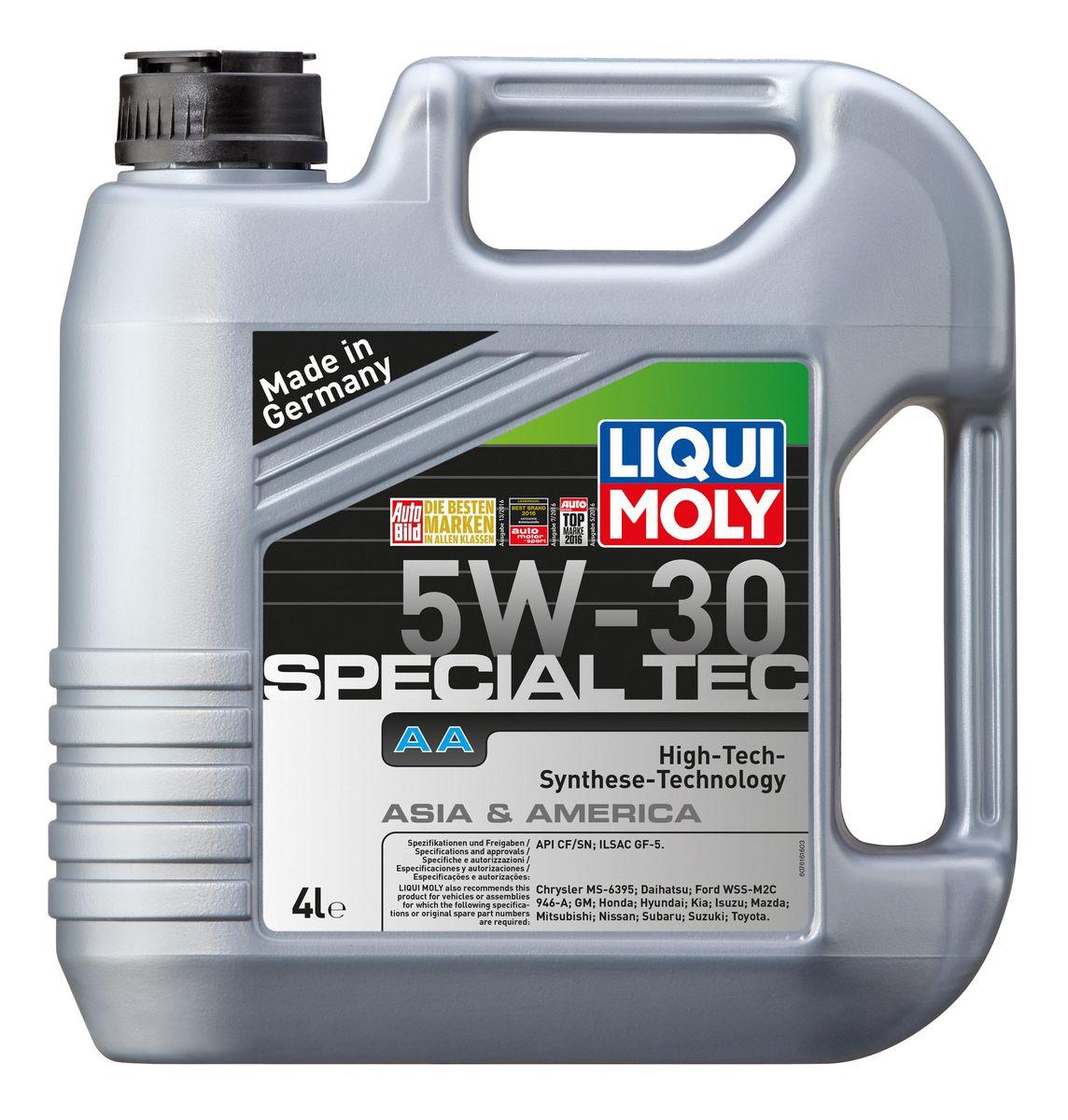 Масло моторное Liqui Moly Special Tec AA, НС-синтетическое, 5W-30, 4 л7516Масло моторное Liqui Moly Special Tec AA рекомендуется для автомобилей Honda, Mazda, Mitsubishi, Nissan, Daihatsu, Hyundai, Kia, Isuzu, Suzuki, Toyota, Subaru, Ford, Chrysler, GM. Современное HC-синтетическое энергосберегающее моторное масло специально разработано для всесезонного использования в большинстве двигателей современных американских и азиатских бензиновых автомобилей. Базовые масла, полученные по технологии синтеза, и новейшие присадки составляют рецептуру моторного масла с отменной защитой от износа, снижающего расход топлива и масла, обеспечивающего чистоту двигателя и максимально быстрое поступление к трущимся деталям. Особенности: - Быстрое поступление масла ко всем деталям двигателя при низких температурах- Высочайшие показатели топливной экономии- Сокращает эмиссию выхлопных газов- Отличная чистота двигателя- Совместимо с новейшими системами нейтрализации отработавших газов бензиновых двигателей- Высокая защита от износа и надежность смазывания- Очень низкие потери масла на испарениеМоторное масло Special Tec АА 5W-30 соответствует специальным требованиям азиатских и американских производителей, поэтому его использование позволяет сохранить все гарантийные условия при прохождении ТО соответствующих автомобилей. Допуск: -API: SN/CF-ILSAC: GF-5