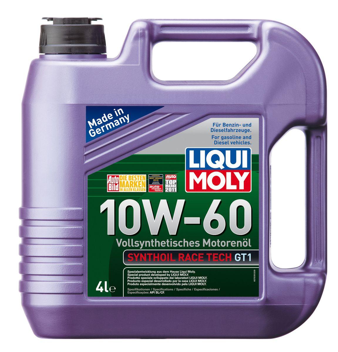 Масло моторное Liqui Moly Synthoil Race Tech GT1, синтетическое, 10W-60, 4 лкн12-60авцМасло моторное Liqui Moly Synthoil Race Tech GT1 - 100% синтетическое моторное масло на базе полиальфаолефинов (ПАО) для спортивных автомобилей со специально подготовленными моторами. Свойства ПАО-синтетики и высокая вязкость позволяют обеспечить необходимую смазку и защиту деталей двигателя в условиях экстремальных нагрузок на двигатель, характерных для спорта. Использование новейших, полностью синтетических компонентов базового масла и специальных технологий в области создания присадок формирует на поверхностях деталей прочнейшую смазочную пленку, которая гарантирует непревзойденную защиту всех деталей двигателя, в том числе от пиковых перегрузок и разрушительного воздействия высоких температур. Особенности: - Высочайшая стабильность к экстремально высоким рабочим температурам- Чрезвычайно малые потери масла на испарение- Надежное поступление масла ко всем деталям двигателя даже в экстремальных условиях автогонок- Высочайшие защитные свойства- Превосходная термоокислительная стабильность и устойчивость к старению- Отличные показатели чистоты двигателя- Создано специально для высокофорсированных и турбированных двигателей спортивных автомобилейДопуск: -API: CF/SL-ACEA: A3/B4Соответствие: -Fiat: 9.55535-H3