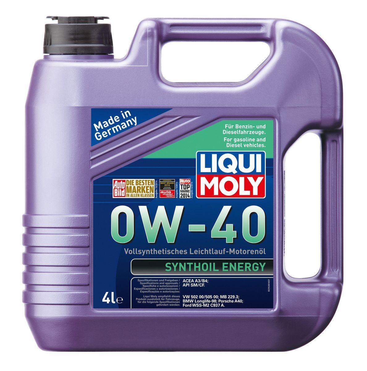 Масло моторное Liqui Moly Synthoil Energy, синтетическое, 0W-40, 4 л2706 (ПО)Масло моторное Liqui Moly Synthoil Energy - 100% синтетическое универсальное моторное масло на базе полиальфаолефинов (ПАО) для большинства автомобилей, для которых требования к маслам опираются на международные классификации API и ACEA. Класс вязкости 0W-40 моторного масла на ПАО-базе оптимален для эксплуатации в холодных условиях, обеспечивая уверенный пуск двигателя даже в сильный мороз и высокий уровень защиты. Использование современных полностью синтетических базовых масел (ПАО) и передовых технологий в области разработок присадок гарантирует низкую вязкость масла при низких температурах, высокую надежность масляной пленки. Моторные масла линейки Synthoil предотвращают образование отложений в двигателе, снижают трение и надежно защищают от износа. Особенности: - Отличные пусковые свойства в мороз- Быстрое поступление масла ко всем деталям двигателя при низких температурах- Высокая смазывающая способность- Замечательная термоокислительная стабильность и устойчивость к старению- Оптимальная чистота двигателя- Протестировано и совместимо с катализаторами и турбонаддувом- Высокая стабильность при высоких температурах- Очень низкий расход маслаДопуск: -API: CF/SM-ACEA: A3/B4