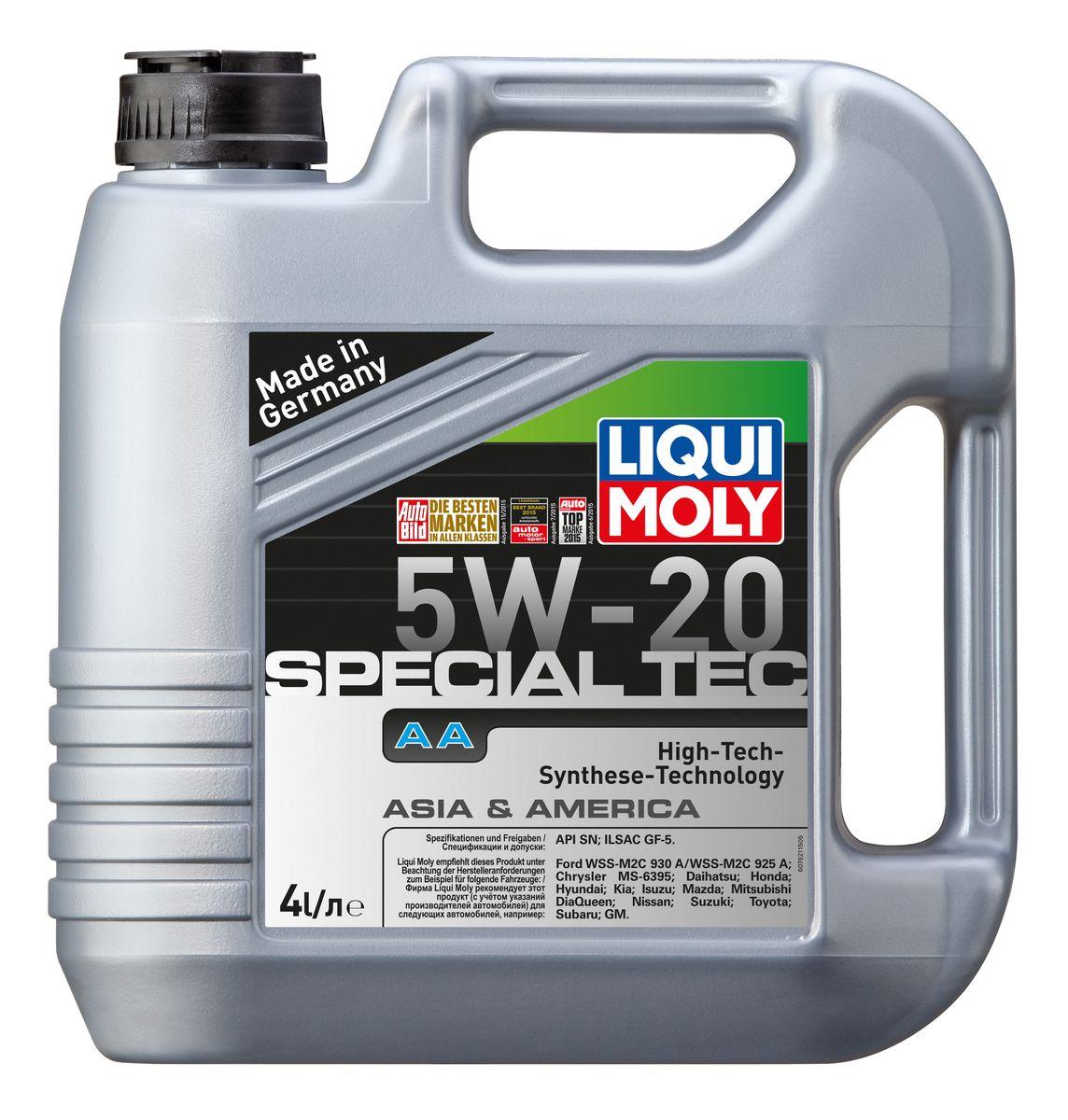 Масло моторное Liqui Moly Special Tec AA, НС-синтетическое, 5W-20, 4 л7621Масло моторное Liqui Moly Special Tec AA рекомендуется для автомобилей Honda, Mazda, Mitsubishi, Nissan, Daihatsu, Hyundai, Kia, Isuzu, Suzuki, Toyota, Subaru, Ford, Chrysler, GM.Современное HC-синтетическое энергосберегающее моторное масло специально разработано для всесезонного использования в двигателях американских и азиатских автомобилей. Благодаря классу вязкости 5W-20 данное масло отлично подходит для новейших двигателей Honda, произведенных для японского и американского рынков. Базовые масла, полученные по технологии синтеза, и новейшие присадки составляют рецептуру моторного масла с отменной защитой от износа, снижающего расход топлива и масла, обеспечивающего чистоту двигателя и максимально быстрое поступление к трущимся деталям. Особенности: - Быстрое поступление масла ко всем деталям двигателя при низких температурах- Высочайшие показатели топливной экономии- Сокращает эмиссию выхлопных газов- Отличная чистота двигателя- Совместимо с новейшими системами нейтрализации отработавших газов бензиновых двигателейМоторное масло Special Tec АА 5W-20 соответствует специальным требованиям азиатских и американских производителей, поэтому его использование позволяет сохранить все гарантийные условия при прохождении ТО соответствующих автомобилей. Допуск: - API: SN- ILSAC: GF-5