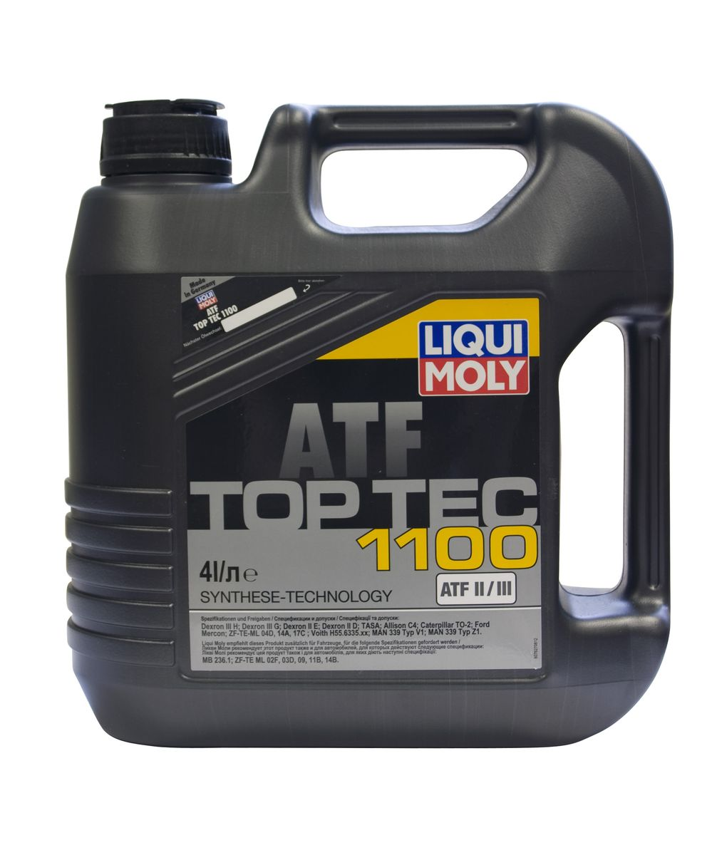 Масло трансмиссионное Liqui Moly Top Tec ATF 1100, НС-синтетическое, 4 л10503Масло трансмиссионное Liqui Moly Top Tec ATF 1100 отвечает требованиям производителей как трансмиссий и гидроусилителей рулевого управления, так и дополнительных навесных агрегатов. HC-синтетическая универсальная жидкость для автоматических и механических трансмиссий легковых и грузовых автомобилей. Обеспечивает безупречную работу агрегатов при любых нагрузках и колебаниях температуры. Top Tec ATF 1100 создана на базе масел HC-синтеза и современного пакета присадок, что гарантирует безупречную работу жидкости при любых нагрузках и колебаниях температуры. Особенности: - Гарантирует высокую температурную стабильность- Обладает максимальной стабильностью к старению- Обеспечивает отличную антикоррозионную защитуДопуск: -Dexron: II D/II E/III G/III H-ATF TASA: (Typ A Suffix A) -ZF: TE-ML 04D/TE-ML 14A/TE-ML 17C-Caterpillar: TO-2-Ford: Mercon-MAN: 339 Typ V1/339 Typ Z1-MB: 236.1-Voith: H55.6335.XX (G 607) -Allison: TES 389/C-4