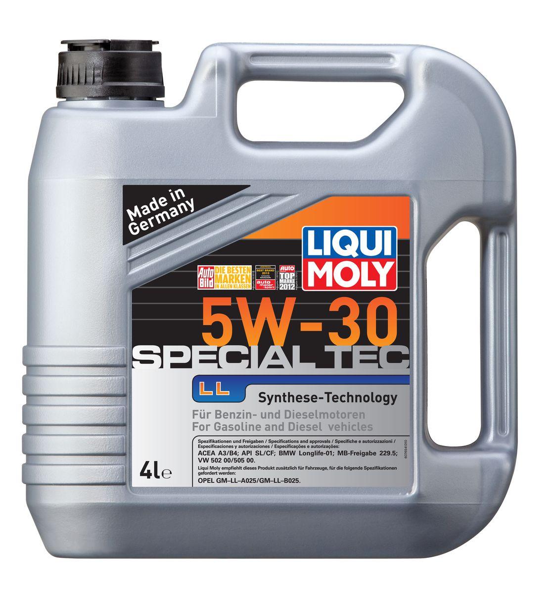 Масло моторное Liqui Moly Special Tec LL, НС-синтетическое, 5W-30, 4 л19545Масло моторное Liqui Moly Special Tec LL рекомендуется для широкого спектра автомобилей с высочайшими требованиями к свойствам моторного масла, таких как Mercedes-Benz, BMW, VW, Opel. HC-синтетическое всесезонное маловязкое моторное масло произведено по новейшим технологическим требованиям. Удовлетворяет условиям LongLife-сервиса. Масло протестировано на турбированных и оснащенных катализаторами моторах. Может использоваться и в двигателях Opel предыдущих поколений, в которых разрешено применение моторных масел данного класса вязкости. Благодаря комбинации НС-синтетических базовых масел и самых современных присадок моторные масла Special Tec LL обеспечивают высочайший уровень защиты от износа, предотвращают образование и накопление отложений в масляной системе и гарантируют стабильное быстрое поступление масла ко всем деталям двигателя. Масло имеет высокий показатель щелочного числа (TBN > 10,5 мг(KOH)/г), что обеспечивает высочайшие моющие свойства. Особенности: - Высочайшие показатели чистоты двигателя- Быстрое поступление масла к деталям двигателя при низких температурах- Очень высокая защита от износа и надежность смазывания- Очень низкие потери масла на испарение- Экономия топлива и снижение вредных выбросов- Проверено на турбированных двигателях и катализатореДопуск: -API: CF/SL-ACEA: A3/B4-BMW: Longlife-01-MB: 229.5-VW: 502 00/505 00Соответствие: -Opel: GM-LL-A025/GM-LL-B025