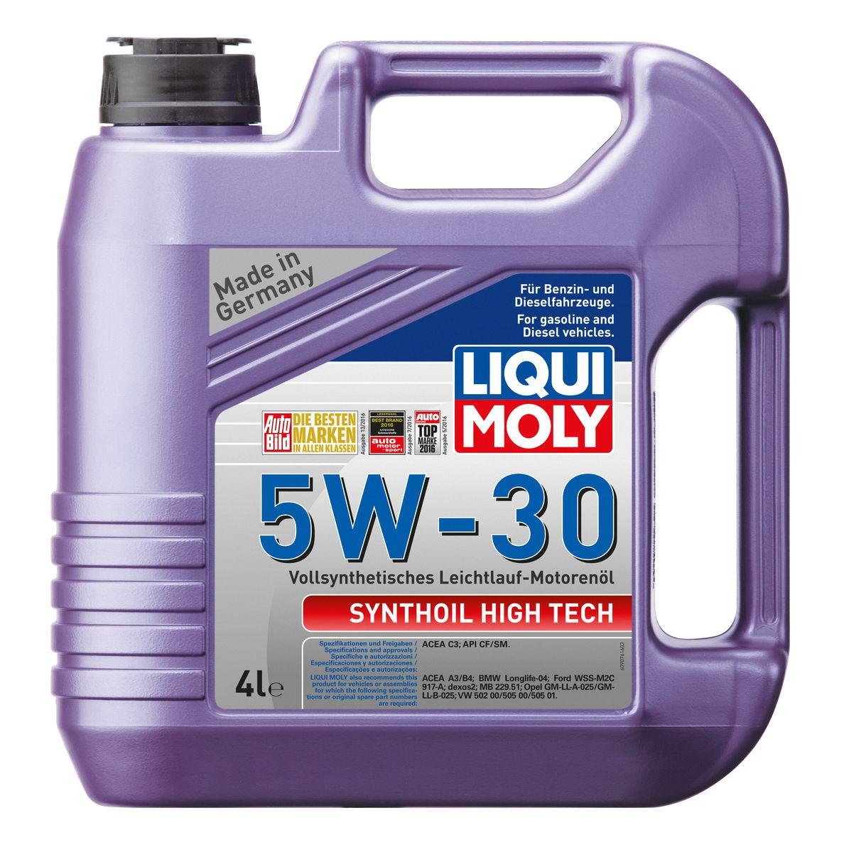 Масло моторное Liqui Moly Synthoil High Tech, синтетическое, 5W-30, 4 л10503Масло моторное Liqui Moly Synthoil High Tech - 100% синтетическое универсальное моторное масло на базе полиальфаолефинов (ПАО) для большинства автомобилей, для которых требования к маслам опираются на международные классификации API и ACEA. Популярнейший класс вязкости для всех современных автомобилях. Благодаря новейшему классу ACEA C3 моторное масло отлично подходит для автомобилей с сажевыми фильтрами. Использование современных, полностью синтетических базовых масел (ПАО) и передовых технологий в области разработок присадок гарантирует низкую вязкость масла при низких температурах, высокую надежность масляной пленки. Моторные масла линейки Synthoil предотвращают образование отложений в двигателе, снижают трение и надежно защищают от износа. Особенности: - Быстрое поступление масла к трущимся деталям при низких температурах- Высокая защита двигателя от износа- Замечательная термоокислительная стабильность и устойчивость к старению- Обеспечивает чистоту двигателя- Очень низкий расход масла- Совместимо с новейшими системами нейтрализации выхлопных газов- Сокращает вредные выбросыДопуск: -API: CF/SM-ACEA: C3