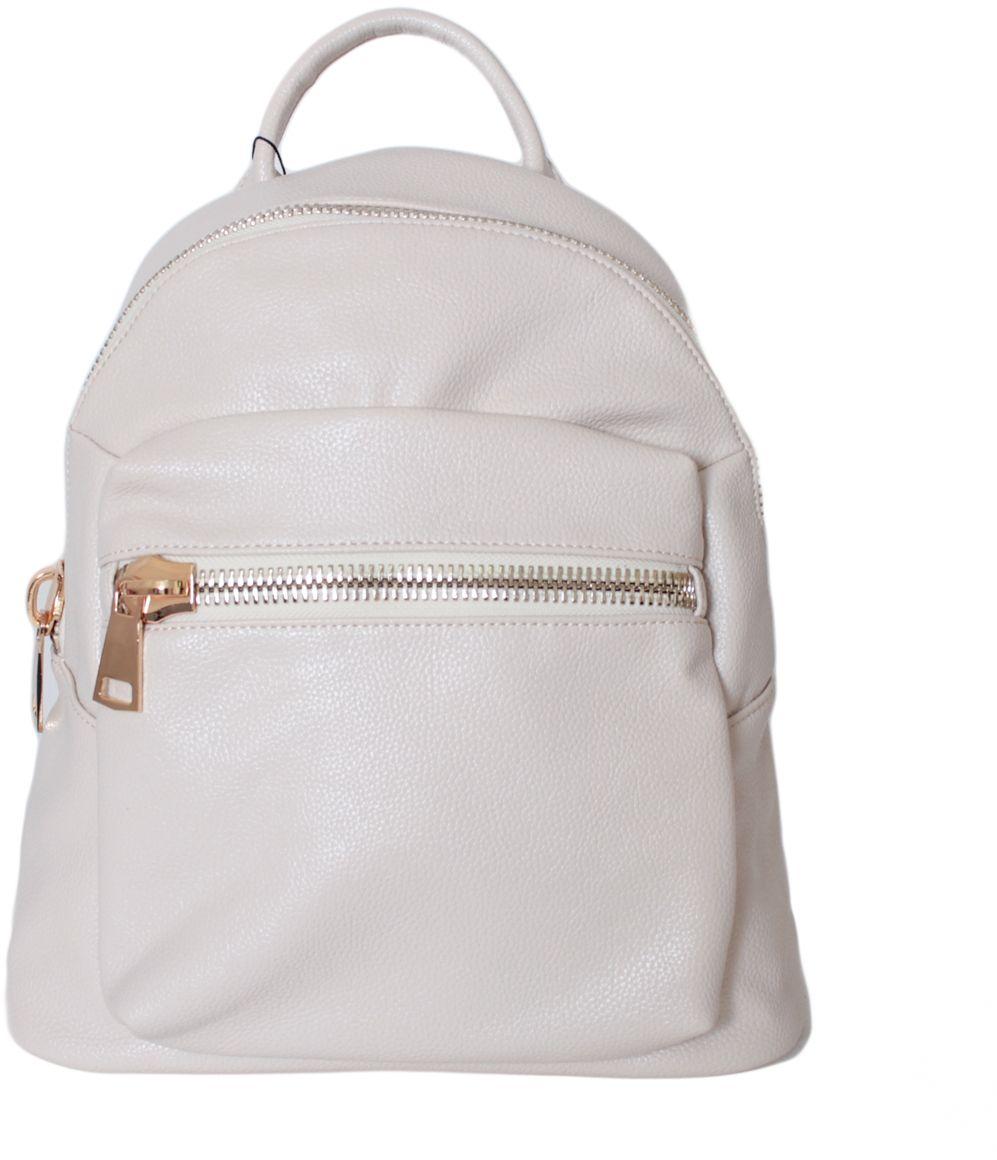 Рюкзак женский Flioraj, цвет: молочный. 2140S76245Рюкзак Flioraj выполнен из высококачественной искусственной кожи. Изделие оснащено ручкой для подвешивания и удобными лямками. На лицевой стороне расположен карман на молнии. Рюкзак закрывается на молнию. Внутри расположено главное вместительное отделение, которое содержит один небольшой карман на молнии и один открытый накладной карман для мелочей.