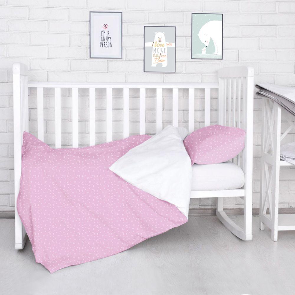 Комплект постельного белья детский Baby Nice Луны Звездочки цвет розовый1064-3Постельное бельё Baby Nice, сшито из качественной бязи импортного производства. Бельё не деформируется, цвет не выстирывается. Состав комплекта: наволочка 40х60, пододеяльник 112х147, простынь на резинке для матраса 110х147.