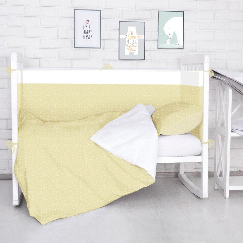 Baby Nice Комплект белья для новорожденных Луны Звездочки цвет бежевый531-105Борт в кроватку Baby Nice (его ещё называют бампер) является отличной защитой малыша от сквозняков и ударов при поворотах в кроватке. Ткань верха: 100% хлопок, наполнитель: экологически чистый нетканый материал для мягкой мебели - периотек. Дизайны бортов сочетаются с дизайнами постельного белья, так что, можно самостоятельно сделать полный комплект, идеальный для сна. Борта в кроватку - мягкие удобные долговечные: надежная и эстетичная защита вашего ребенка! Состав комплекта: 4-е стороны: 120х35 - 2 шт, 60х35 - 2 шт.