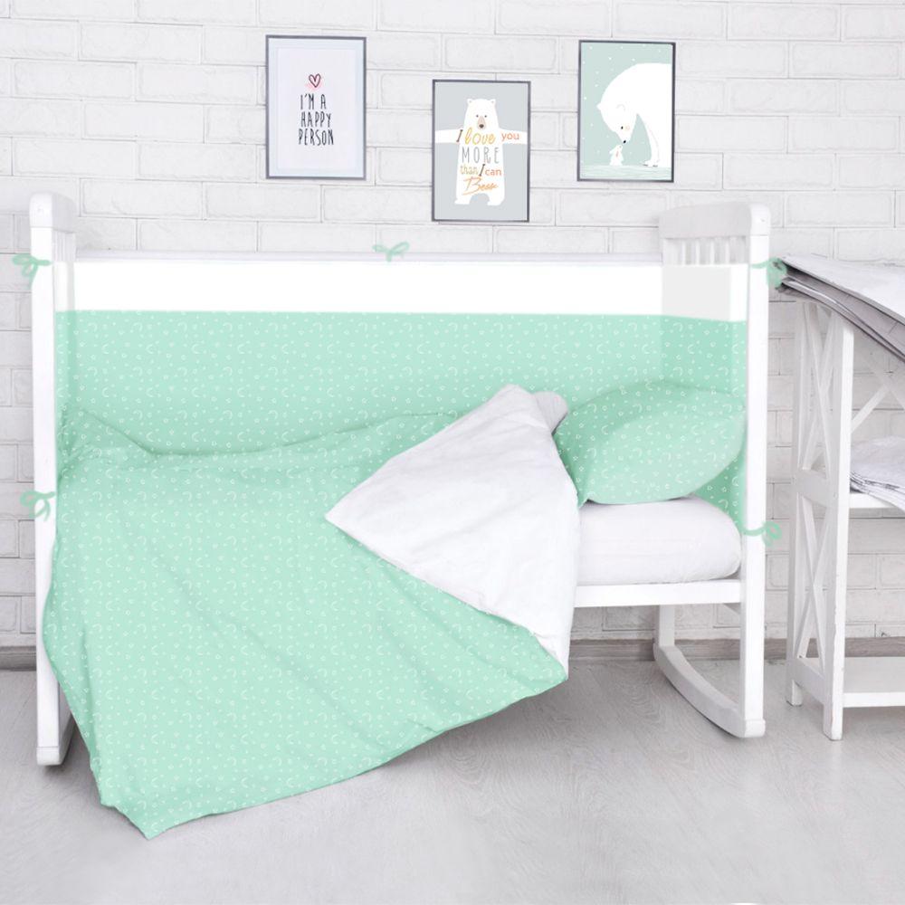 Baby Nice Комплект белья для новорожденных Луны Звездочки цвет салатовый2615S545JBБорт в кроватку (его ещё называют бампер) является отличной защитой малыша от сквозняков и ударов при поворотах в кроватке. Ткань верха: 100% хлопок, наполнитель: экологически чистый нетканый материал для мягкой мебели — периотек. Дизайны бортов сочетаются с дизайнами постельного белья, так что, можно самостоятельно сделать полный комплект, идеальный для сна. Борта в кроватку — мягкие удобные долговечные: надежная и эстетичная защита вашего ребенка! Состав комплекта: 4-е стороны: 120х35 - 2 шт, 60х35 - 2 шт.
