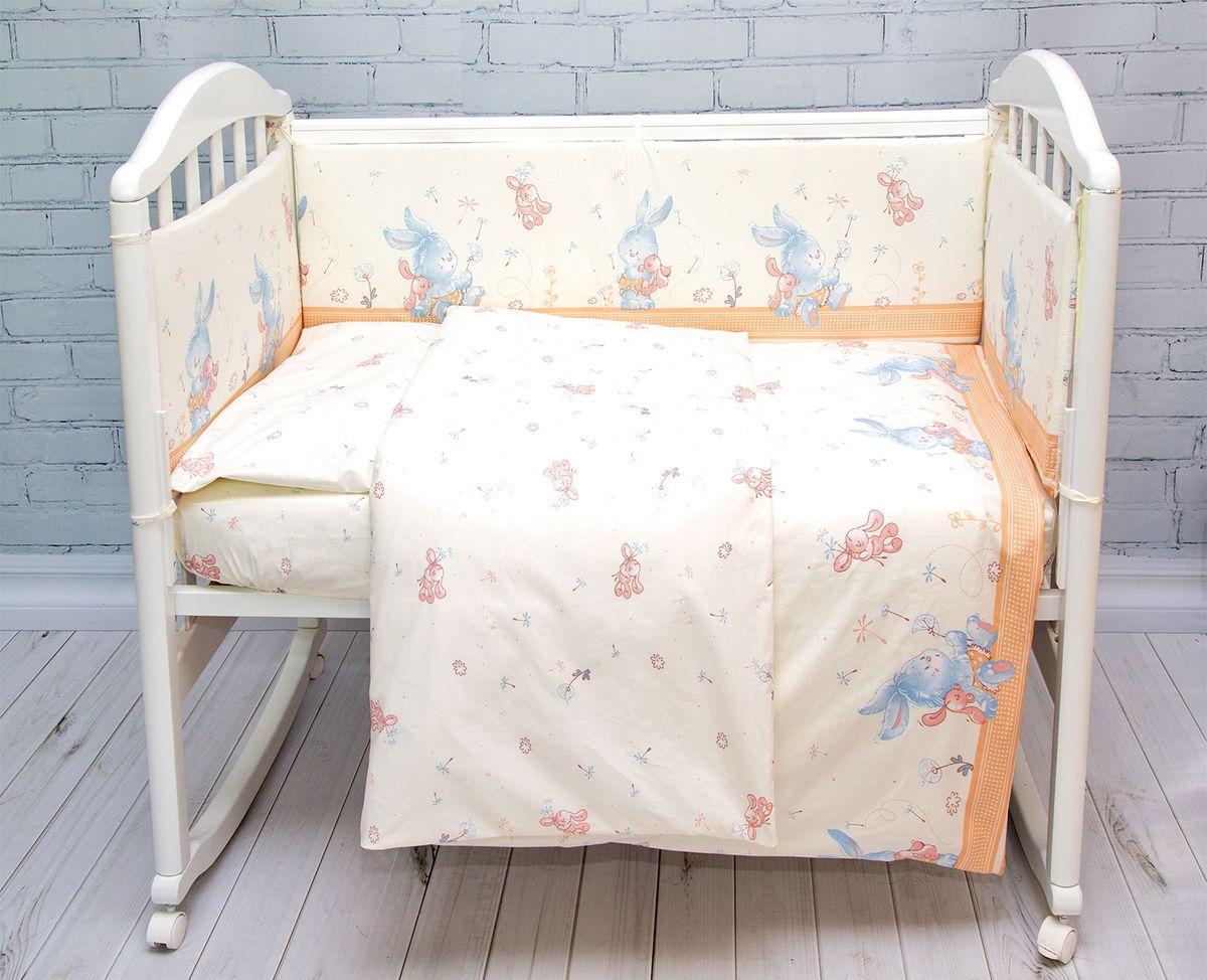 Baby Nice Комплект в кроватку Зайка 6 предметов цвет бежевыйН813-01_бежевыйКомплект в кроватку Baby Nice для самых маленьких должен быть изготовлен только из самой качественной ткани, самой безопасной и гигиеничной, самой экологичнойи гипоаллергенной. Отлично подходит для кроваток малышей, которые часто двигаются во сне. Хлопковое волокно прекрасно переносит стирку, быстро сохнет и не требует особого ухода, не линяет и не вытягивается. Ткань прошла специальную обработку по умягчению, что сделало её невероятно мягкой и приятной к телу. Состав комплекта: простынь 112х147, пододеяльник 112х147, наволочка 40х60, борт (120х35 - 2 шт, 60х35 - 2 шт) , одеяло с наполнителем файбер 110х140, подушка 40х60