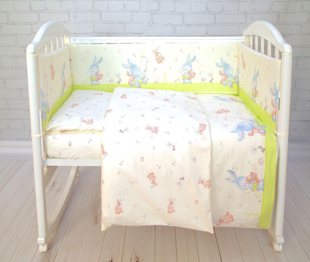Baby Nice Комплект в кроватку Зайка 6 предметов цвет салатовый531-105Комплект в кроватку Baby Nice для самых маленьких должен быть изготовлен только из самой качественной ткани, самой безопасной и гигиеничной, самой экологичнойи гипоаллергенной. Отлично подходит для кроваток малышей, которые часто двигаются во сне. Хлопковое волокно прекрасно переносит стирку, быстро сохнет и не требует особого ухода, не линяет и не вытягивается. Ткань прошла специальную обработку по умягчению, что сделало её невероятно мягкой и приятной к телу. Состав комплекта: простынь 112х147, пододеяльник 112х147, наволочка 40х60, борт (120х35 - 2 шт, 60х35 - 2 шт) , одеяло с наполнителем файбер 110х140, подушка 40х60