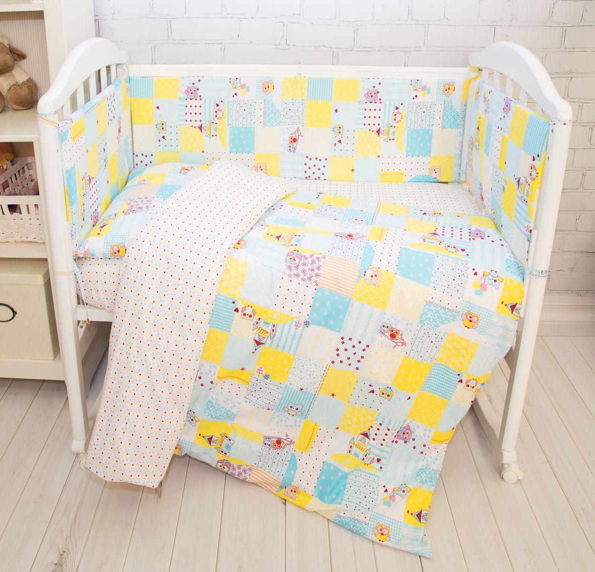 Споки Ноки Комплект в кроватку Совы 6 предметов цвет голубой531-105Комплект в кроватку Споки Ноки Совы для самых маленьких должен быть изготовлен только из самой качественной ткани, самой безопасной и гигиеничной, самой экологичнойи гипоаллергенной. Отлично подходит для кроваток малышей, которые часто двигаются во сне. Хлопковое волокно прекрасно переносит стирку, быстро сохнет и не требует особого ухода, не линяет и не вытягивается. Ткань прошла специальную обработку по умягчению, что сделало её невероятно мягкой и приятной к телу. Состав комплекта: (простынь 112х147, пододеяльник 112х147, наволочка 40х60, борт (120х35 - 2 шт, 60х35 - 2 шт) , одеяло с наполнителем файбер 110х140, подушка 40х60