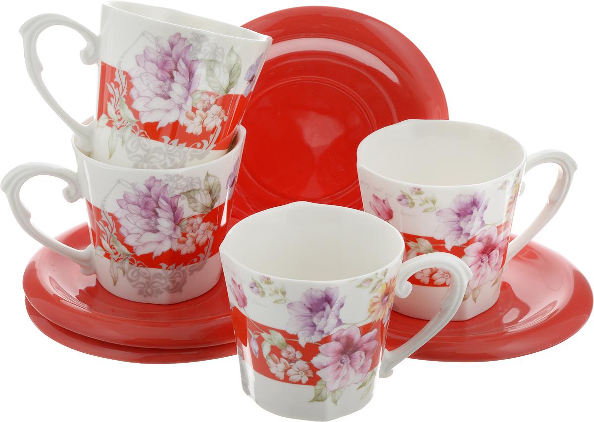 Набор чайный Loraine, 8 предметов. 2470021395599Чайный набор Loraine, выполненный из керамики, состоит из 4 чашек и 4 блюдец. Чашка оформлена красочным изображением. Изящный дизайн и красочность оформления придутся по вкусу и ценителям классики, и тем, кто предпочитает современный стиль.Чайный набор - идеальный и необходимый подарок для вашего дома и для ваших друзей в праздники, юбилеи и торжества! Он также станет отличным корпоративным подарком и украшением любой кухни. Набор упакован в подарочную коробку из плотного цветного картона. Внутренняя часть коробки задрапирована белым атласом.Размер чашки: 8,5 х 8 см.Высота чашки: 7,5 см.Объем чашки: 230 мл. Размеры блюдца: 14 х 14 х 1,5 см.