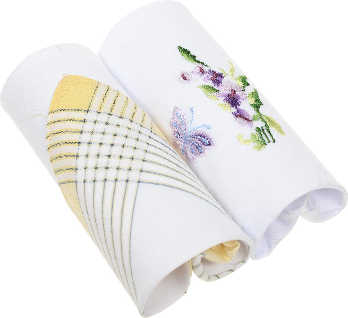 Платок носовой женский Zlata Korunka, цвет: белый, фиолетовый, 2 шт. 67004. Размер 27 х 27 смАжурная брошьЖенские носовые платки Zlata Korunka изготовлены из натурального хлопка, приятны в использовании, хорошо стираются, материал не садится и отлично впитывает влагу.В упаковке две штуки.