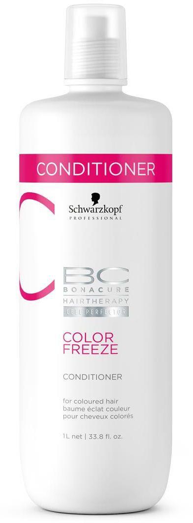 Bonacure Сияние Цвета Кондиционер Color Freeze 1000 млC5639300Кондиционер для окрашенных волос с формулой контроль цвета. Укрепляет структуру волос и удерживает оптимальный уровень pH 4.5, снижая потерю яркости цвета до 0. Усиливает сияние окрашенных волос, устраняет пушистость и разглаживает поверхность волоса. Рекомендуется использовать в комплексе с шампунем BC COLOR FREEZE.