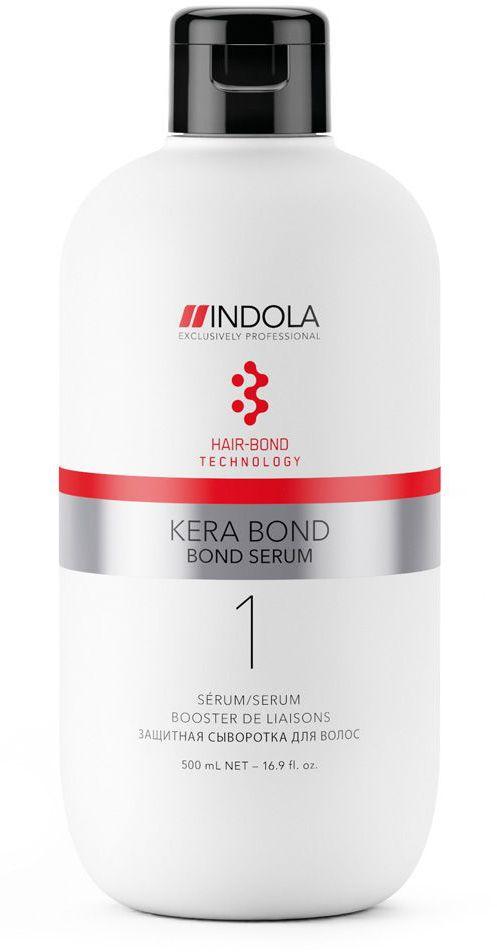 Indola Защитная сыворотка Kera Bond 500 млFS-00897Двух ступенчатая технология Kera Bond - это инновационная технология Hair Bond Technology, современный ассортимент продуктов против ломкости волос, предотвращающий повреждение волос во время химических процедур и значительно улучшающий качество волос, даже ранее окрашенных. Bond Serum усиливает связи в волосе во время химических процессов и уменьшает ломкость волос при смешивании с обесцвечивающими, осветляющими и красящими системами