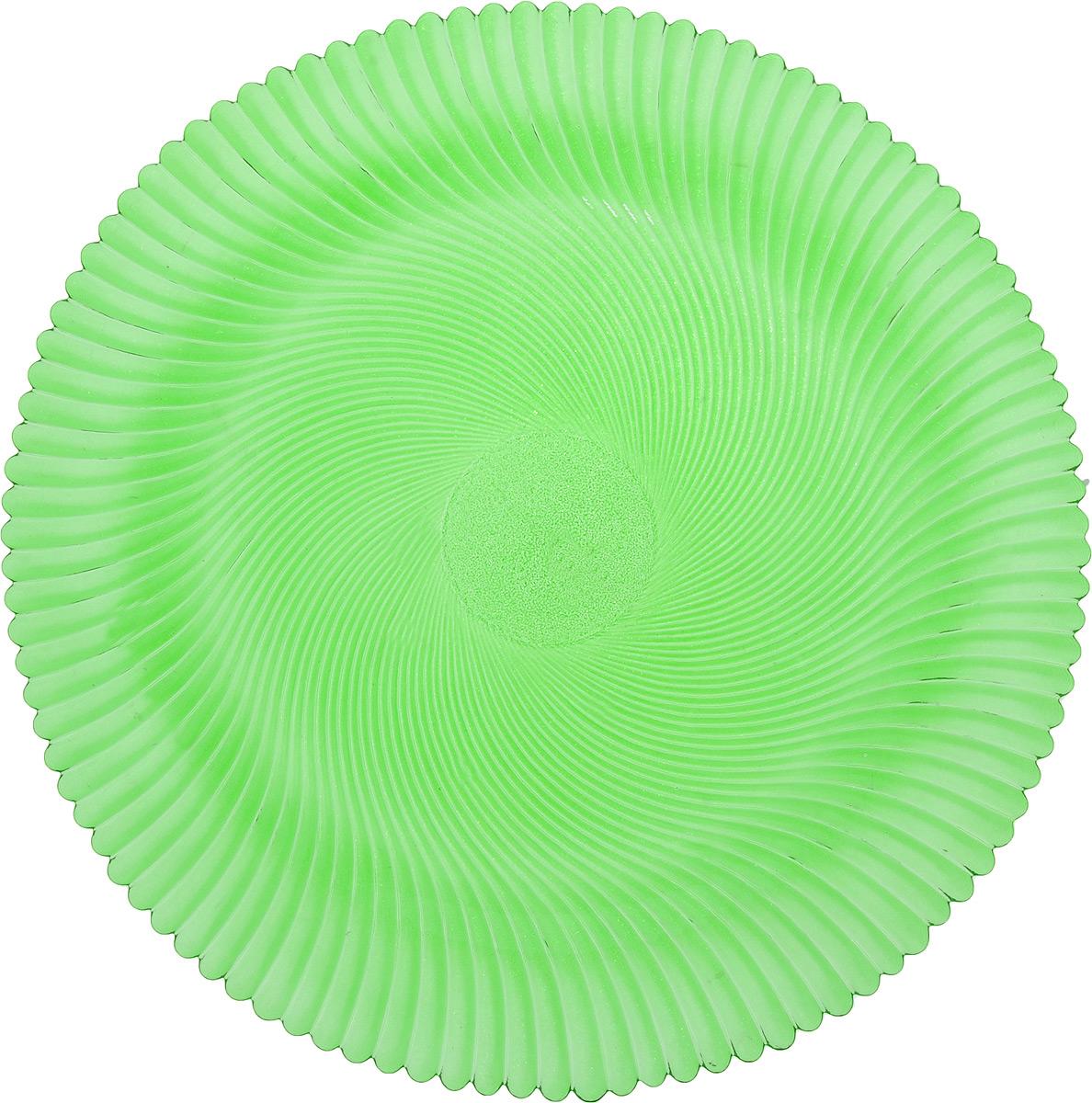 Блюдо NiNaGlass Альтера, цвет: зеленый, диаметр 32 см115510Блюдо NiNaGlass Альтера, изготовленное из высококачественного стекла, имеет круглую форму и прекрасно подойдет для подачи нарезок, закусок и других блюд. Внешняя стенка изделия имеет рельефную форму. Такое блюдо украсит сервировку вашего стола и подчеркнет прекрасный вкус хозяйки.Диаметр блюда (по верхнему краю): 32 см.Высота блюда: 2 см.