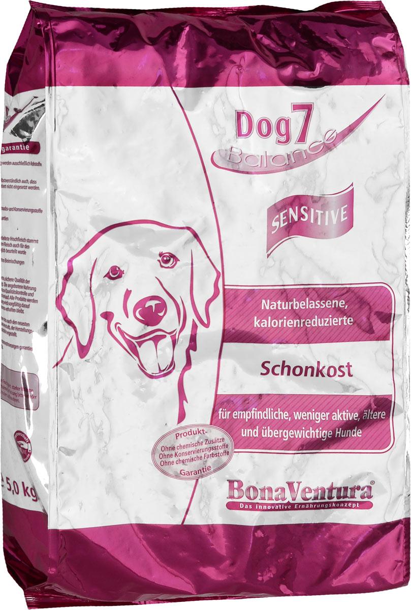Корм сухой BonaVentura Dog 7 Sensitive для взрослых собак, склонных к полноте, 5 кг0120710Натуральный корм BonaVentura Dog 7 Sensitive предназначен для взрослых собак, склонных к полноте. Он произведен из продуктов, пригодных в пищу человека по специальной технологии, схожей с технологией Sous Vide. Благодаря технологии при изготовлении сохраняются все натуральные витамины и минералы. Это достигается благодаря бережной обработке всех ингредиентов при температуре менее 80 градусов. Такая бережная обработка продуктов не стерилизует продуктовые компоненты. Благодаря этому корма не нуждаются ни в каких дополнительных вкусовых добавках и сохраняют все необходимые полезные вещества.При производстве кормов используются исключительно свежие натуральные продукты: мясо, овощи и зерновые; Приготовлено из 100% свежего мяса, пригодного в пищу человеку; Содержит натуральные витамины, аминокислоты, минеральные вещества и микроэлементы; С экстрактом масла зародышей зерна пшеницы холодного отжима (Bio-Dura); Без химических красителей, усилителей вкуса, искусственных консервантов и химических добавок; Без ГМО; Без мясокостной муки; Без сои.Товар сертифицирован.