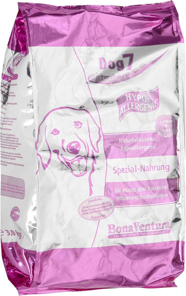 Корм сухой BonaVentura Dog 7 Hipo Allergenic для собак, гипоаллергенный, с бараниной и рисом, 3 кг0120710Натуральный гиппоалергенный корм для собак BonaVentura Dog 7 Hipo Allergenic произведен из продуктов, пригодных в пищу человека по специальной технологии, схожей с технологией Sous Vide. Благодаря технологии при изготовлении сохраняются все натуральные витамины и минералы. Это достигается благодаря бережной обработке всех ингредиентов при температуре менее 80 градусов. Такая бережная обработка продуктов не стерилизует продуктовые компоненты. Благодаря этому корма не нуждаются ни в каких дополнительных вкусовых добавках и сохраняют все необходимые полезные вещества.При производстве кормов используются исключительно свежие натуральные продукты: мясо, овощи и зерновые; Приготовлено из 100% свежего мяса, пригодного в пищу человеку; Содержит натуральные витамины, аминокислоты, минеральные вещества и микроэлементы; С экстрактом масла зародышей зерна пшеницы холодного отжима (Bio-Dura); Без химических красителей, усилителей вкуса, искусственных консервантов и химических добавок; Без ГМО; Без мясокостной муки; Без сои.Товар сертифицирован.