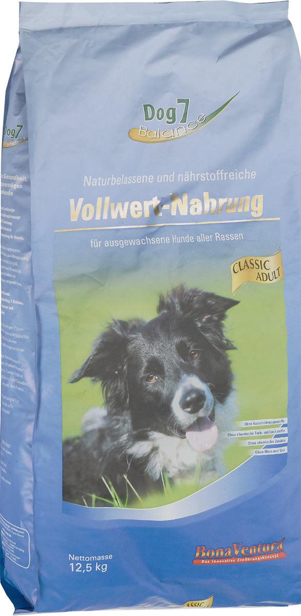 Корм сухой BonaVentura Dog 7 Adult для собак, сбалансированный, 12,5 кг0120710Натуральный сбалансированный корм для собак BonaVentura Dog 7 Adult произведен из продуктов, пригодных в пищу человека по специальной технологии, схожей с технологией Sous Vide. Благодаря технологии при изготовлении сохраняются все натуральные витамины и минералы. Это достигается благодаря бережной обработке всех ингредиентов при температуре менее 80 градусов. Такая бережная обработка продуктов не стерилизует продуктовые компоненты. Благодаря этому корма не нуждаются ни в каких дополнительных вкусовых добавках и сохраняют все необходимые полезные вещества.При производстве кормов используются исключительно свежие натуральные продукты: мясо, овощи и зерновые; Приготовлено из 100% свежего мяса, пригодного в пищу человеку; Содержит натуральные витамины, аминокислоты, минеральные вещества и микроэлементы; С экстрактом масла зародышей зерна пшеницы холодного отжима (Bio-Dura); Без химических красителей, усилителей вкуса, искусственных консервантов и химических добавок; Без ГМО; Без мясокостной муки; Без сои.Товар сертифицирован.