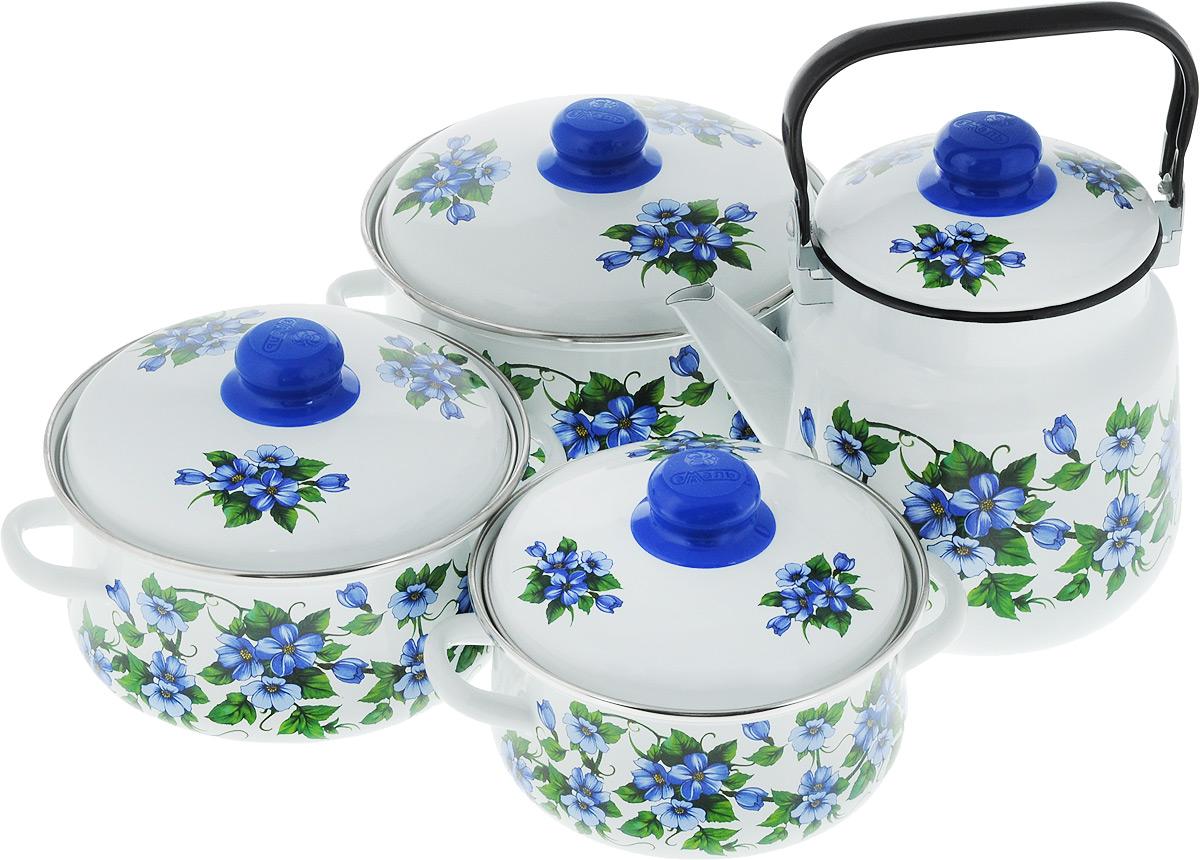 Набор посуды Эмаль Забава, цвет: белый, синий, зеленый, 8 предметов54 009312Набор посуды Эмаль Забава состоит из 3 кастрюль и чайника с крышками. Изделия выполнены из качественной эмалированной стали. Эмаль защищает сталь от коррозии, придает посуде гладкую поверхность и надежно защищает от кислот и щелочей. Эмаль устойчива к пищевым кислотам, не вступает во взаимодействие с продуктами и не искажает их вкусовые качества. Прочный стальной корпус обеспечивает эффективную тепловую обработку пищевых продуктов и не деформируется в процессе эксплуатации. Внешняя поверхность изделий оформлена красочным цветочным изображением. Кастрюли и чайник снабжены стальными крышками с удобными пластиковыми ручками. Чайник имеет прочную подвижную металлическую ручку. Посуда подходит для газовых, электрических, стеклокерамических и индукционных плит. Объем кастрюль: 2 л; 3 л; 4 л. Диаметр кастрюль (по верхнему краю): 19 см; 21 см; 23 см. Ширина кастрюль (с учетом ручек): 24 см; 26 см; 28 см. Высота стенки кастрюль: 10 см; 11,5 см; 13 см. Диаметр индукционного дна кастрюль: 14 см; 15,5 см; 18 см.Объем чайника: 3,5 л. Высота чайника (без учета крышки и ручки): 18 см. Диаметр чайника (по верхнему краю): 15,5 см.Диаметр индукционного дна чайника: 13,5 см.