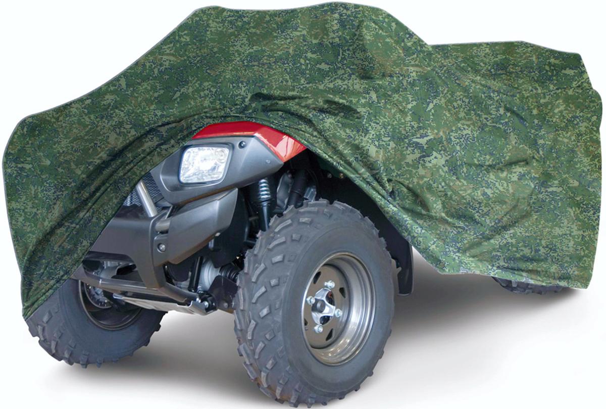 Чехол для квадроцикла Tplus, универсальный, цвет: темно-зеленый камуфляж. Размер XL (280 х 140 х 120 см). T002025KGB GX-5RSУниверсальный чехол Tplus, изготовленный из ткани оксфорд плотностью 210 г/м2, защитит квадроцикл от пыли, песка, грязи и пыльцы, снега и льда. Резинка по краю изделия и 6 петлей для крепления под днищем позволяют плотно зафиксировать чехол на транспортном средстве. Чехол дополнен лючком для заправки.Чтобы любое транспортное средство служило долгие годы, необходимо не только соблюдать все правила его эксплуатации, но и правильно его хранить. Негативное влияние на состояние мототехники оказывают прямые солнечные лучи, влага, пыль, которые не только могут вызвать коррозию внешних металлических поверхностей, но и вывести из строя внутренние механизмы транспортных средств. Необходимо создать условия для снижения воздействия этих негативных факторов. Именно для этого и предназначен чехол. Мешок для транспортировки и хранения чехла входит в комплект.