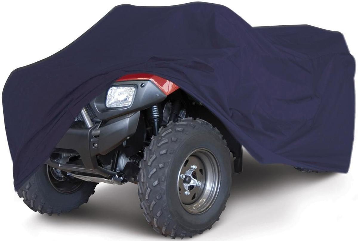 Чехол для квадроцикла Tplus, универсальный, цвет: синий. Размер M (200 х 140 х 110 см). T002027KGB GX-5RSУниверсальный чехол Tplus, изготовленный из ткани оксфорд плотностью 210 г/м2, защитит квадроцикл от пыли, песка, грязи и пыльцы, снега и льда. Резинка по краю изделия и 6 петлей для крепления под днищем позволяют плотно зафиксировать чехол на транспортном средстве. Чехол дополнен лючком для заправки.Чтобы любое транспортное средство служило долгие годы, необходимо не только соблюдать все правила его эксплуатации, но и правильно его хранить. Негативное влияние на состояние мототехники оказывают прямые солнечные лучи, влага, пыль, которые не только могут вызвать коррозию внешних металлических поверхностей, но и вывести из строя внутренние механизмы транспортных средств. Необходимо создать условия для снижения воздействия этих негативных факторов. Именно для этого и предназначен чехол. Мешок для транспортировки и хранения чехла входит в комплект.