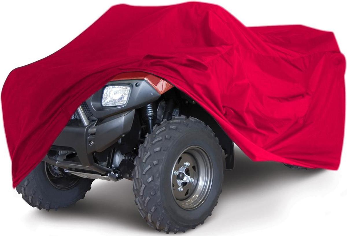 Чехол для квадроцикла Tplus, универсальный, цвет: красный. Размер XL (280 х 140 х 120 см). T002041AG-UNI-MA-PVC330-TC-BLУниверсальный чехол Tplus, изготовленный из ткани оксфорд плотностью 600 г/м2, защитит квадроцикл от пыли, песка, грязи и пыльцы, снега и льда. Резинка по краю изделия, 3 эластичных фиксатора и6 петлей для крепления под днищем позволяют плотно зафиксировать чехол на транспортном средстве. Чехол дополнен светоотражающими элементами на задней части и лючком для заправки. Чтобы любое транспортное средство служило долгие годы, необходимо не только соблюдать все правила его эксплуатации, но и правильно его хранить. Негативное влияние на состояние мототехники оказывают прямые солнечные лучи, влага, пыль, которые не только могут вызвать коррозию внешних металлических поверхностей, но и вывести из строя внутренние механизмы транспортных средств. Необходимо создать условия для снижения воздействия этих негативных факторов. Именно для этого и предназначен чехол. Мешок для транспортировки и хранения чехла входит в комплект.