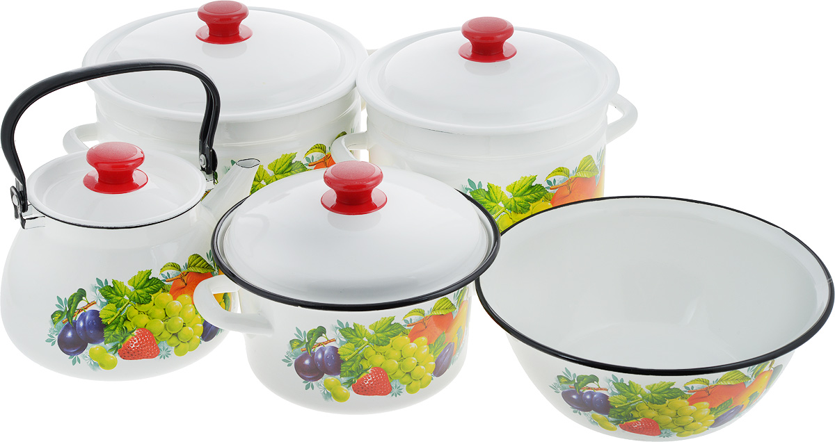 Набор посуды КМК Джем, 9 предметов391602Набор посуды КМК Джем, состоящий из миски, трех кастрюль и чайника с крышками, изготовлен из высококачественной стали с эмалированным покрытием и оформлен изображением ягод и фруктов. Эмалевое покрытие, являясь стекольной массой, не вызывает аллергии и надежно защищает пищу от контакта с металлом. Внутренняя поверхность идеально ровная, что значительно облегчает мытье. Покрытие устойчиво к механическому воздействию, не царапается и не сходит, а стальная основа практически не подвержена механической деформации, благодаря чему срок эксплуатации увеличивается. Кастрюли и чайник оснащены крышками, выполненными из стали с эмалированным покрытием, которые имеют удобные пластиковые ручки. Чайник оснащен стальной ручкой. Подходят для всех типов плит, включая индукционные. Можно мыть в посудомоечной машине. Высота стенок кастрюль: 12,5 см; 17,5 см; 17 см. Диаметр кастрюль (по верхнему краю): 20 см; 22 см; 25 см. Ширина кастрюль (с учетом ручек): 27 см; 29 см; 32 см.Объем кастрюль: 3 л; 6 л; 8 л. Диаметр чайника (по верхнему краю): 13,5 см. Высота чайника (без учета крышки и ручки): 14 см. Объем чайника: 3 л. Диаметр миски (по верхнему краю): 28 см. Высота стенок миски: 10,5 см. Объем миски: 4 л.