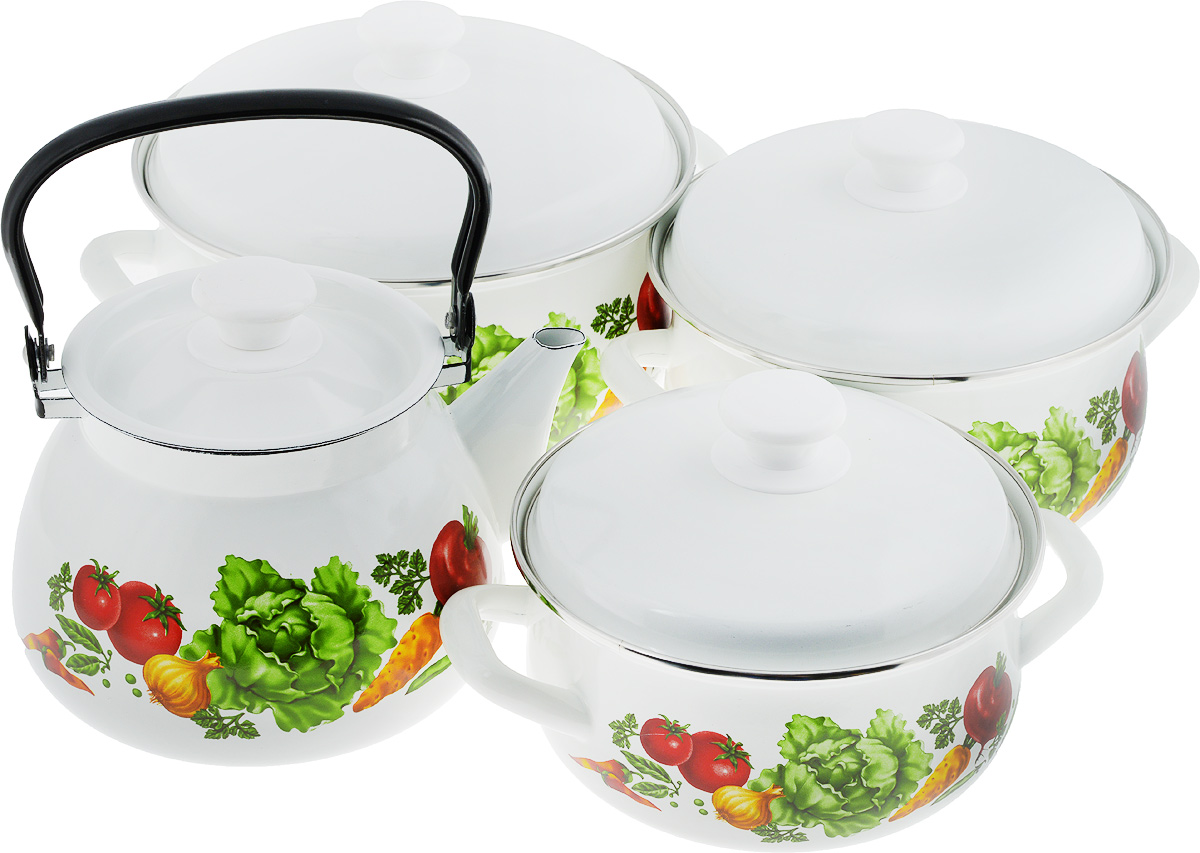 Набор посуды КМК Поварской, 7 предметов54 009303Набор посуды КМК Поварской состоит из 3 кастрюль разного объема, 3 крышек и чайника. Изделия выполнены из качественной эмалированной стали. Эмаль защищает сталь от коррозии, придает посуде гладкую поверхность и надежно защищает от кислот и щелочей. Эмаль устойчива к пищевым кислотам, не вступает во взаимодействие с продуктами и не искажает их вкусовые качества. Прочный стальной корпус обеспечивает эффективную тепловую обработку пищевых продуктов и не деформируется в процессе эксплуатации. Внешняя поверхность изделий оформлена красочным цветочным рисунком и рецептами супов. Кастрюли и чайник снабжены стальными крышками с удобными пластиковыми ручками. Чайник имеет прочную подвижную металлическую ручку. Посуда подходит для газовых, электрических, стеклокерамических и индукционных плит. Объем кастрюль: 2 л; 3 л; 4 л. Диаметр кастрюль (по верхнему краю): 20,5 см; 23 см; 26 см. Ширина кастрюль (с учетом ручек): 26,5 см; 29 см; 32 см. Высота стенки кастрюль: 9,5 см; 11,5 см; 13 см. Диаметр индукционного дна кастрюль: 15,5 см; 18 см; 20,5 см.Объем чайника: 3 л. Высота чайника (без учета крышки и ручки): 14 см. Диаметр чайника (по верхнему краю): 14,5 см.Диаметр индукционного дна чайника: 15 см.